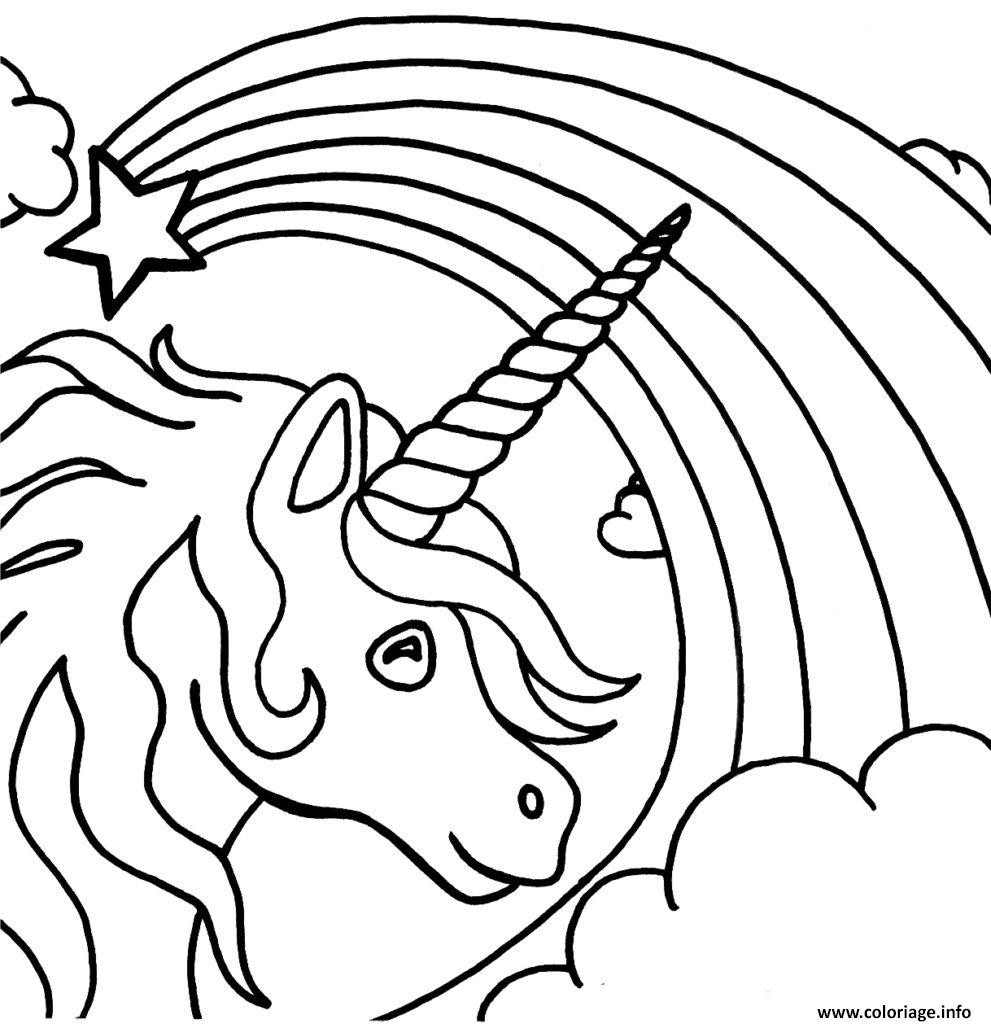 Coloriage De Licorne Et Arc En Ciel | Coloriages À Imprimer avec Arc En Ciel A Colorier
