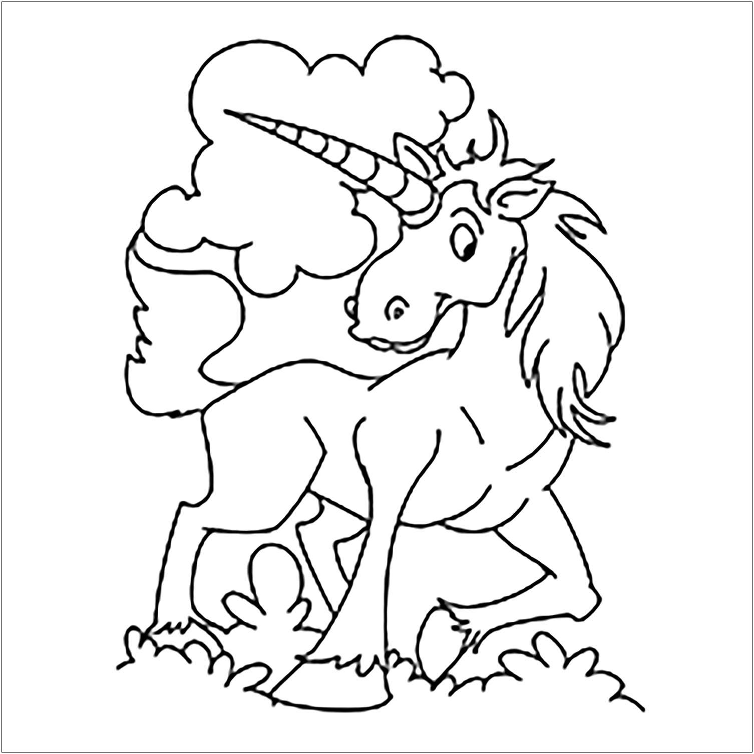 Coloriage De Licorne Pour Enfants - Coloriage De Licornes encequiconcerne Dessin Pour Enfant À Colorier