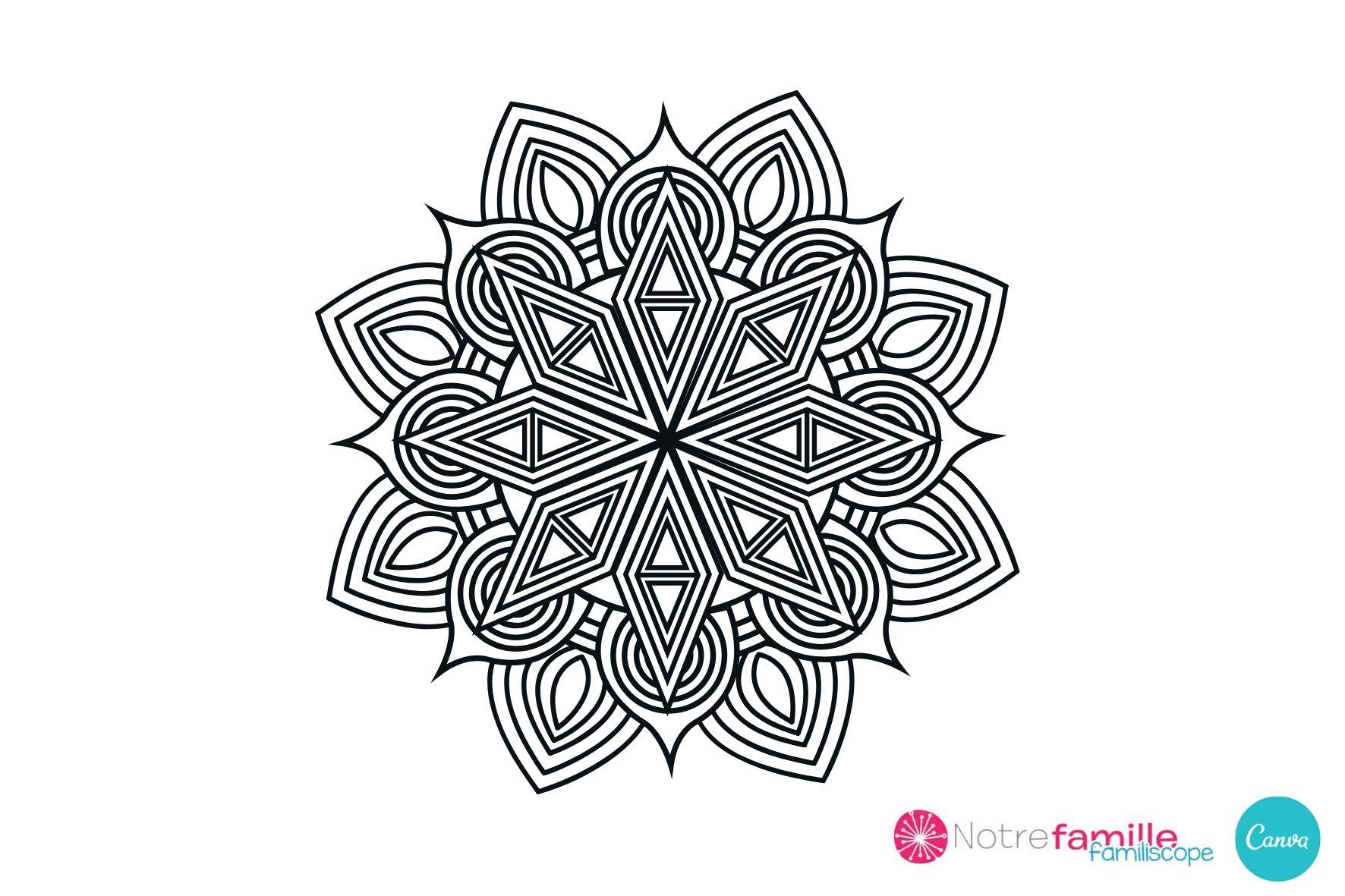 Coloriage De Mandala À Imprimer - Niveau Facile encequiconcerne Mandala À Imprimer Facile