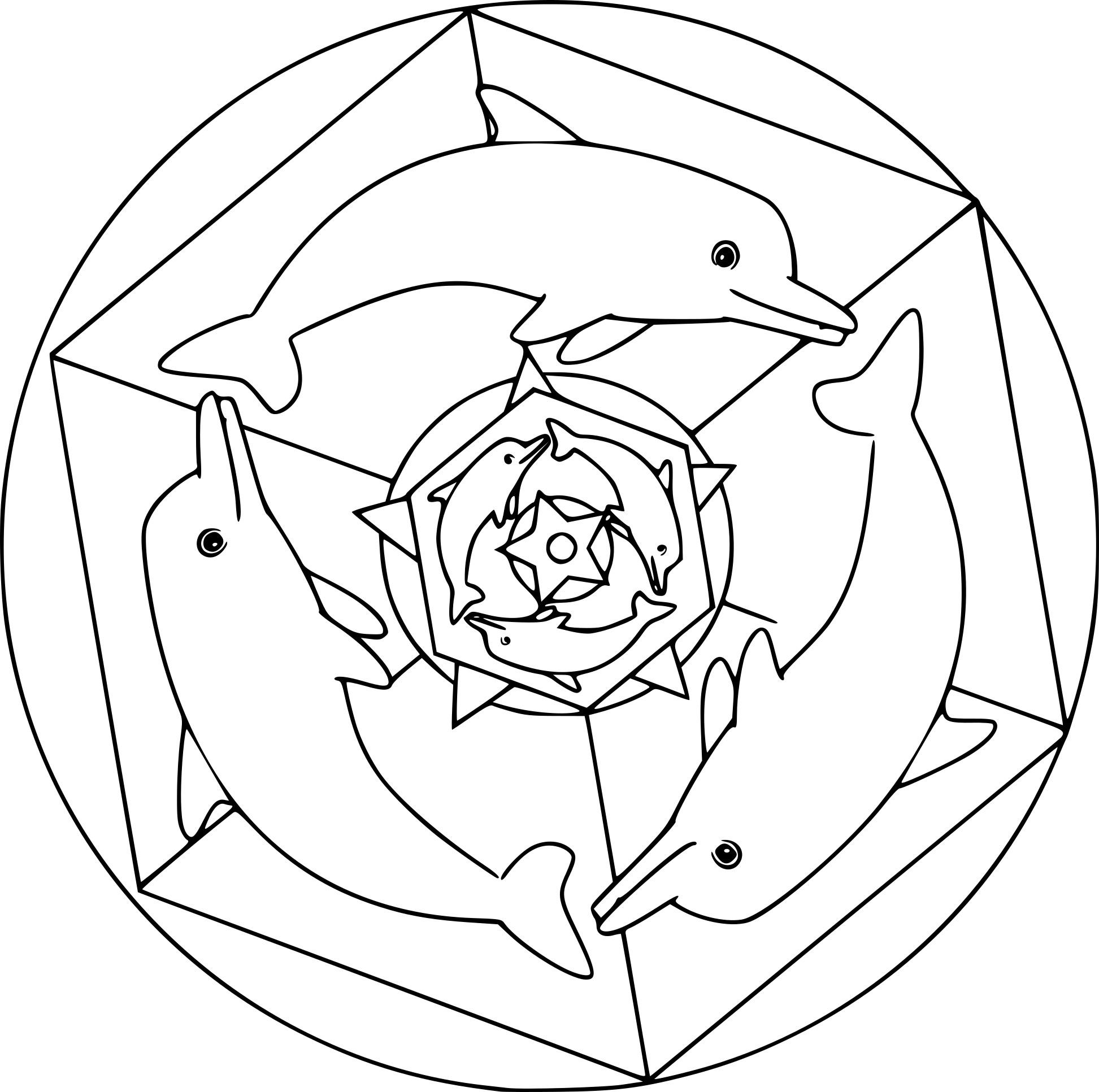 Coloriage De Mandala Dauphin À Imprimer Sur Coloriages tout Dessin Dauphin À Imprimer
