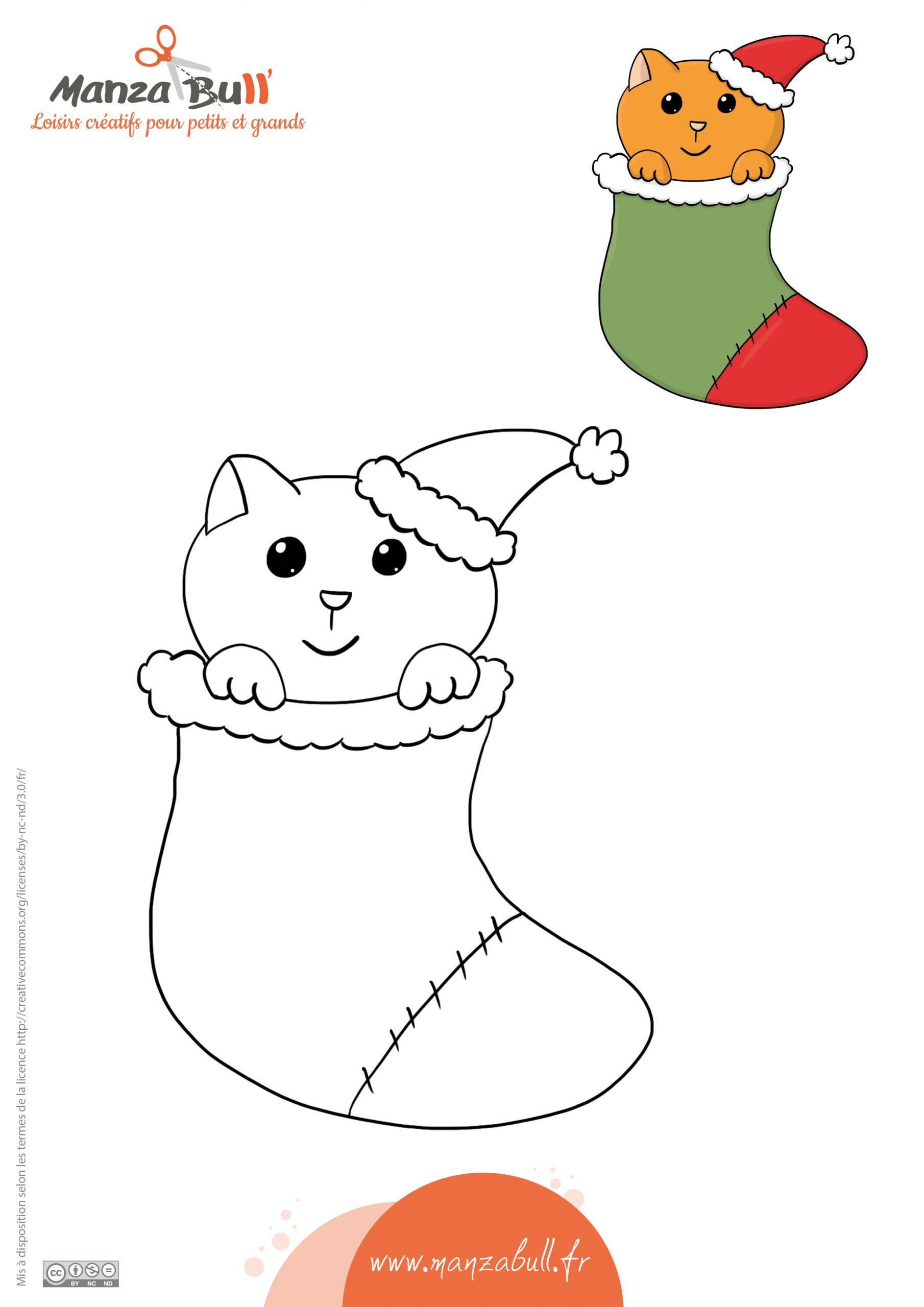 Coloriage De Noël Chat - Manzabull' intérieur Coloriage De Chat De Noel