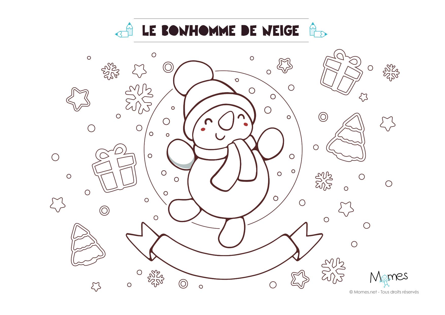 Coloriage De Noël : Le Bonhomme De Neige - Momes à Dessin Bonhomme De Neige A Imprimer