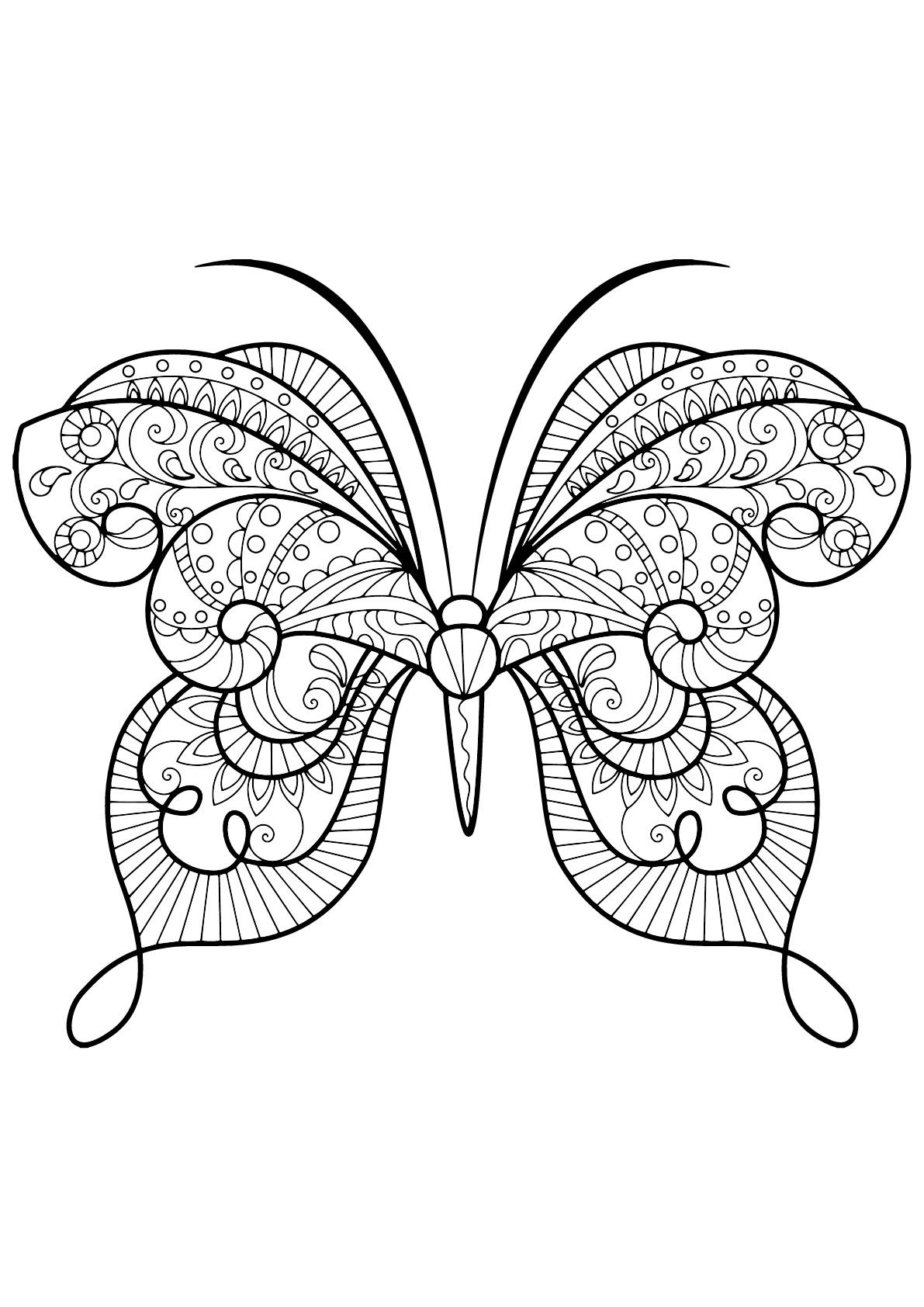 Coloriage De Papillons À Imprimer - Coloriage De Papillons tout Masque Papillon À Imprimer