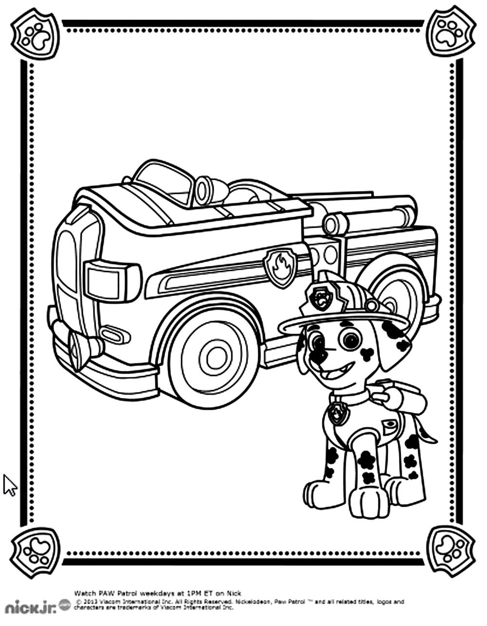 Coloriage De Pat Patrouille À Imprimer Pour Enfants intérieur Coloriage Pompier A Imprimer Gratuit