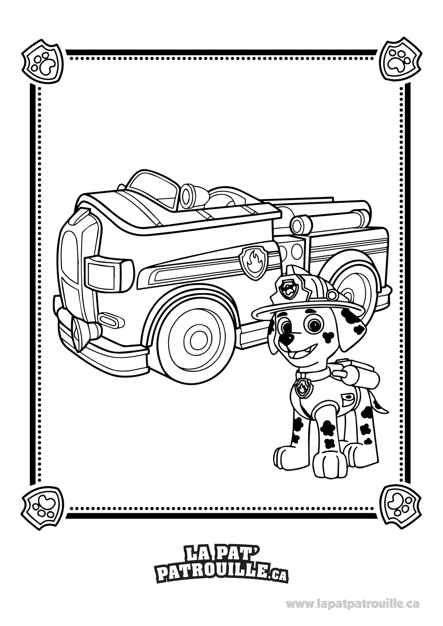 Coloriage De Pat Patrouille - Marcus Et Son Camion De pour Dessin De Pompier À Imprimer