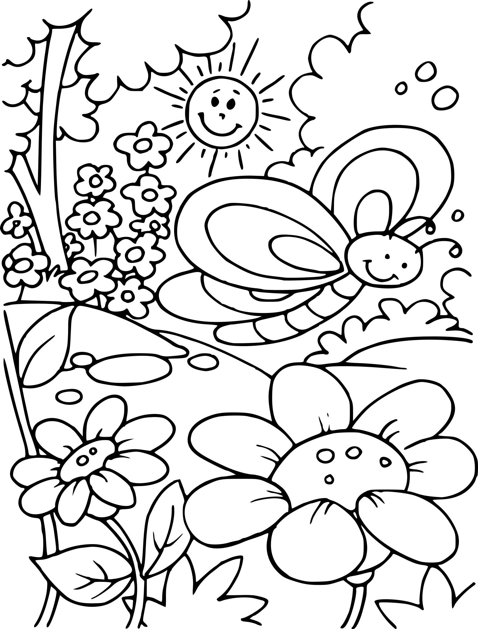 Coloriage De Paysage Du Printemps À Imprimer Sur Coloriage à Dessin Printemps Paysage