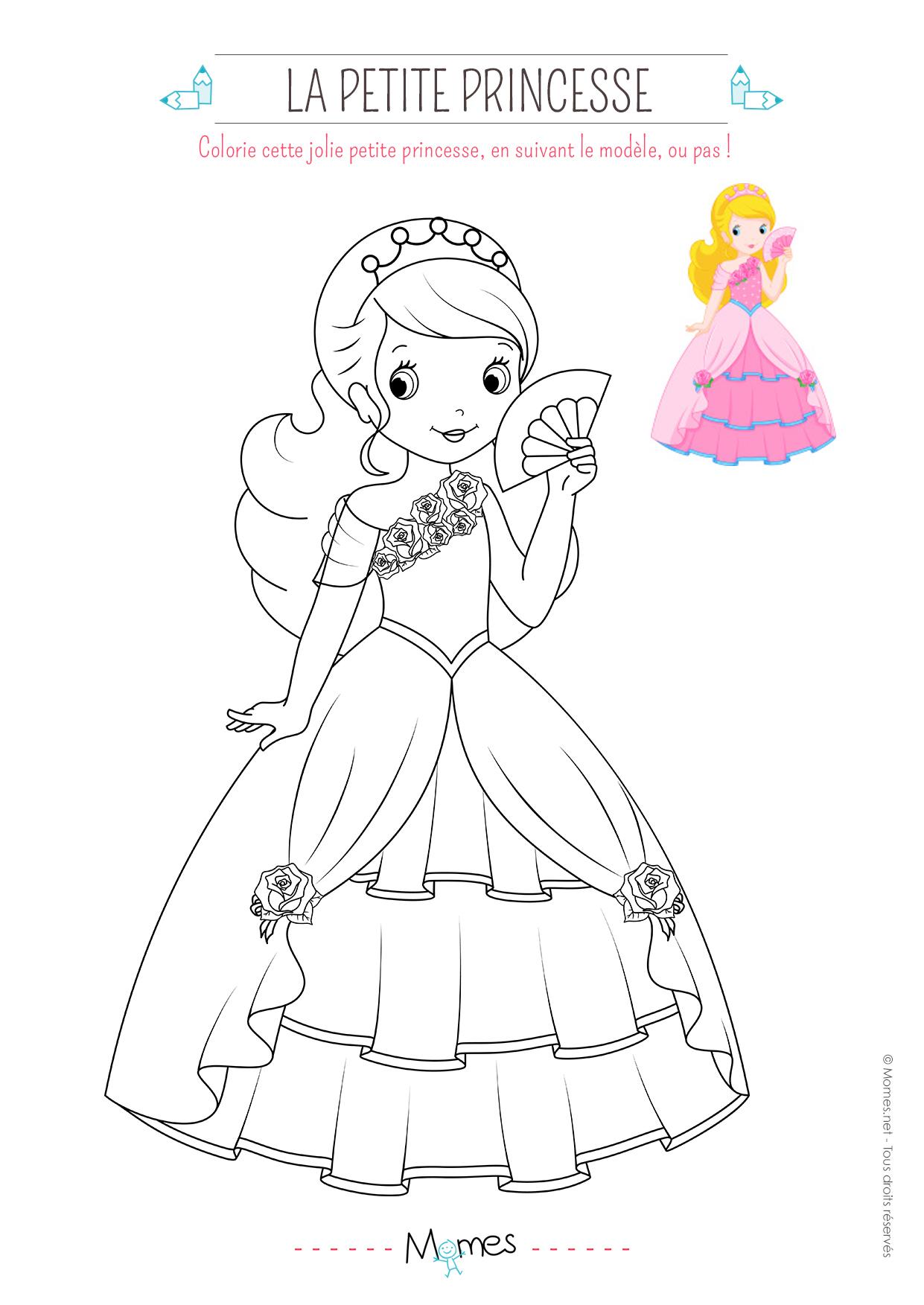 Coloriage De Princesse Avec Modèle - Momes concernant Coloriage À Imprimer Chateau De Princesse