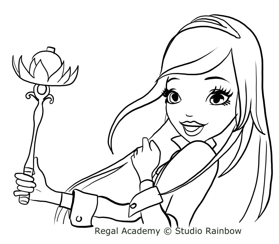 Coloriage De Rose Cendrillon De Regal Academy dedans Cendrillon À Colorier