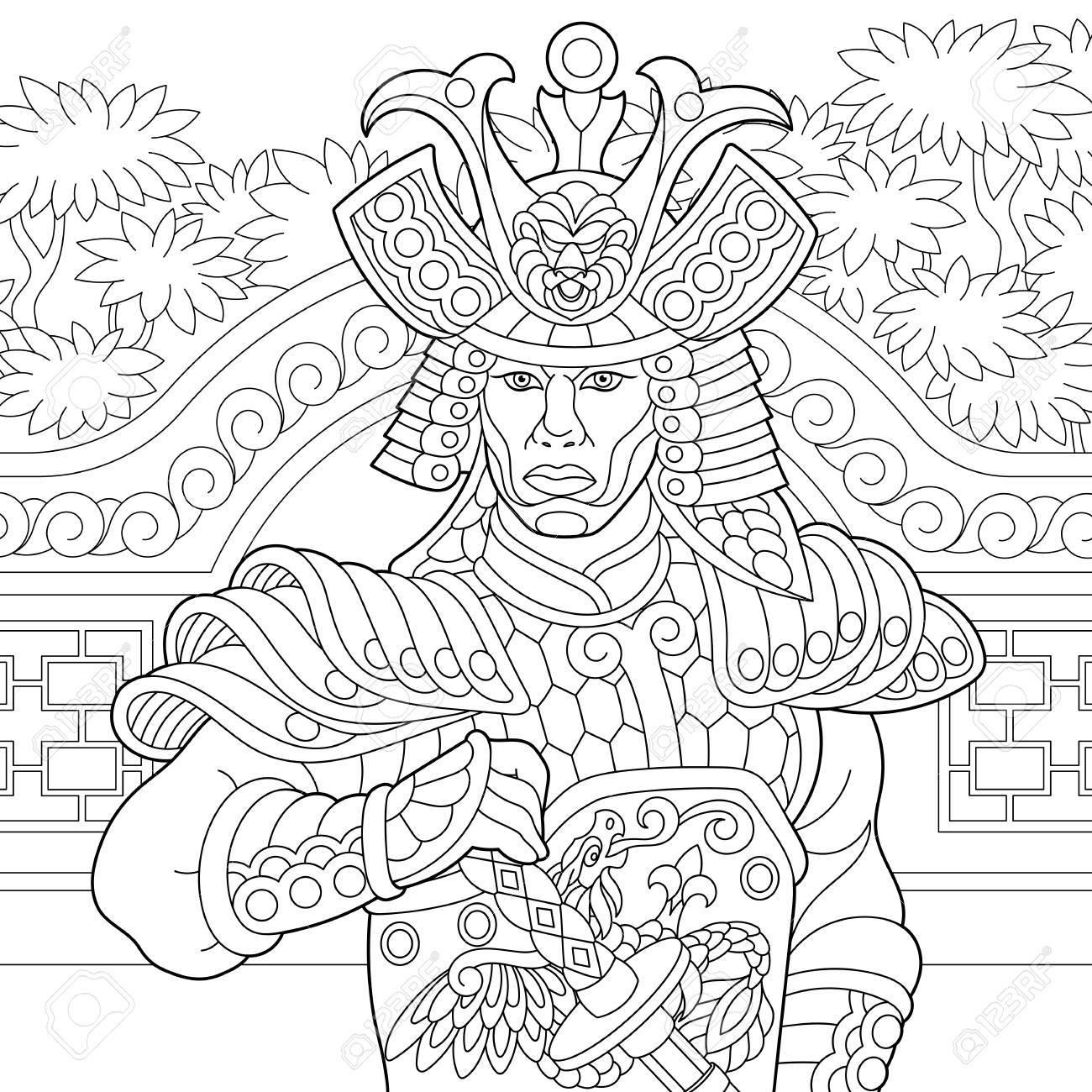 Coloriage De Samouraï Japonais Avec Épée Katana. Dessin De Croquis À Main  Levée Pour Livre De Coloriage Antistress Adulte tout Coloriage D Épée
