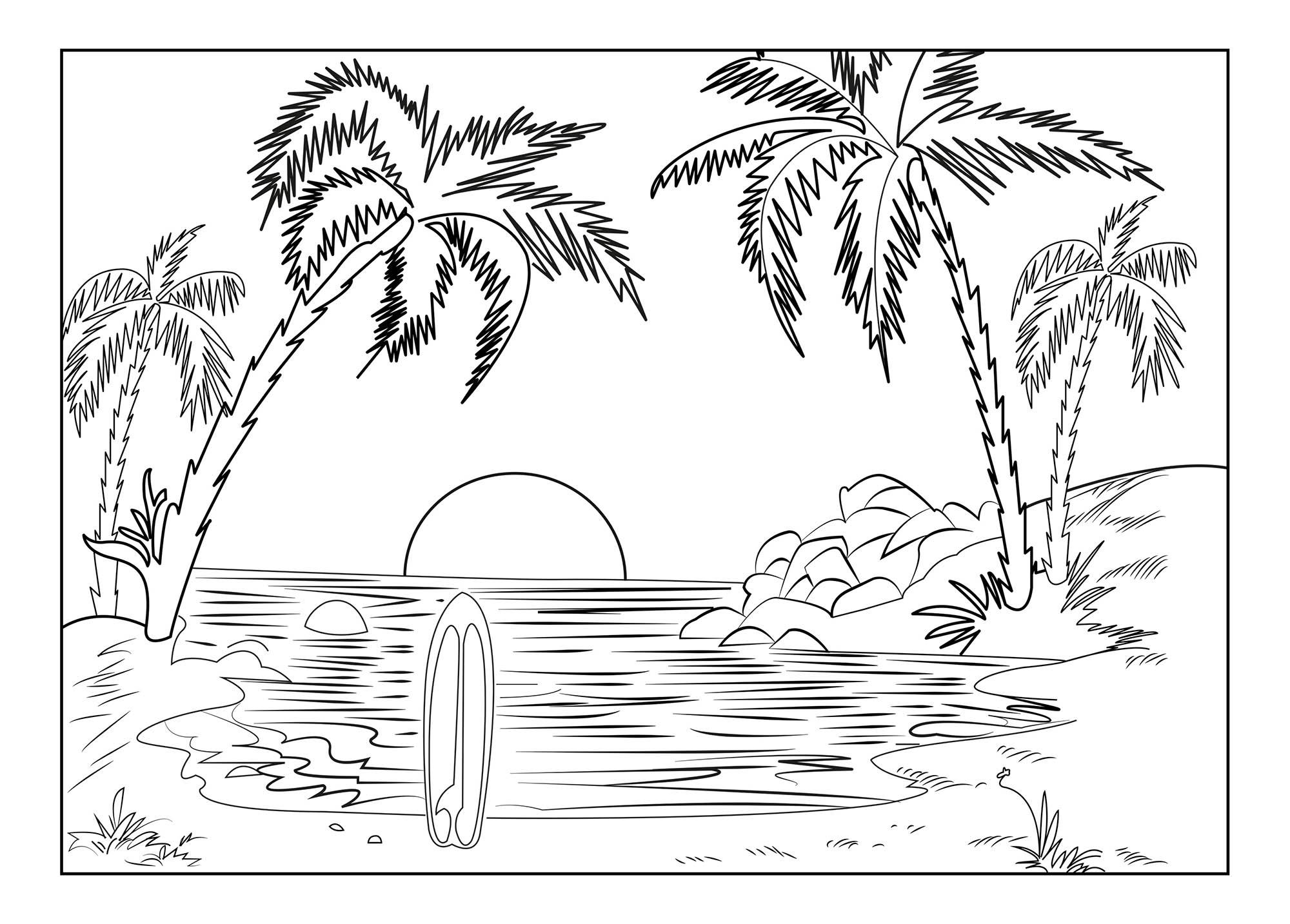 Coloriage De Vacances À La Mer À Colorier Pour Enfants destiné Coloriage Sur La Mer À Imprimer