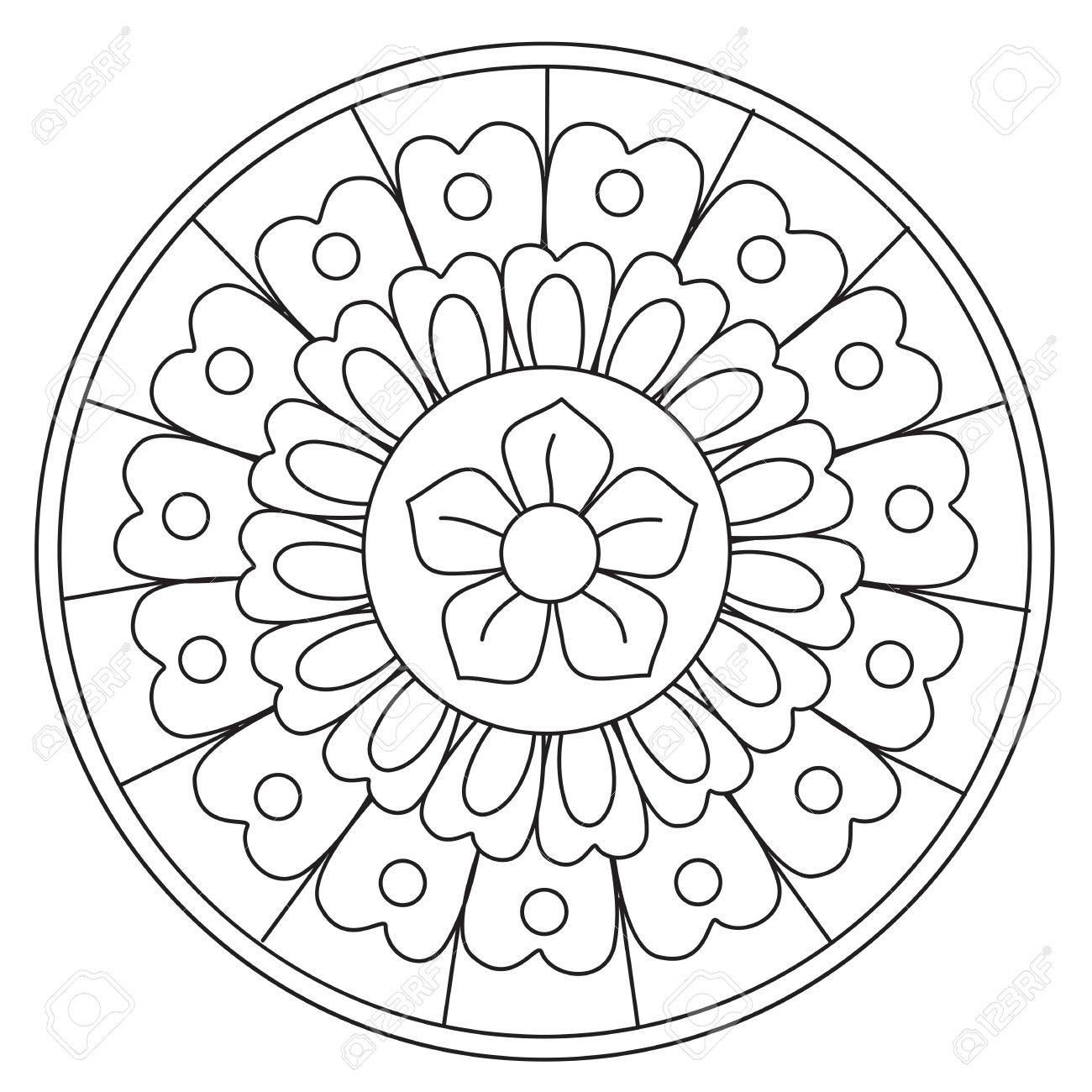 Coloriage De Vecteur Simple Beauté Floral Mandala Rond Pour Les Enfants tout Mandala À Imprimer Facile