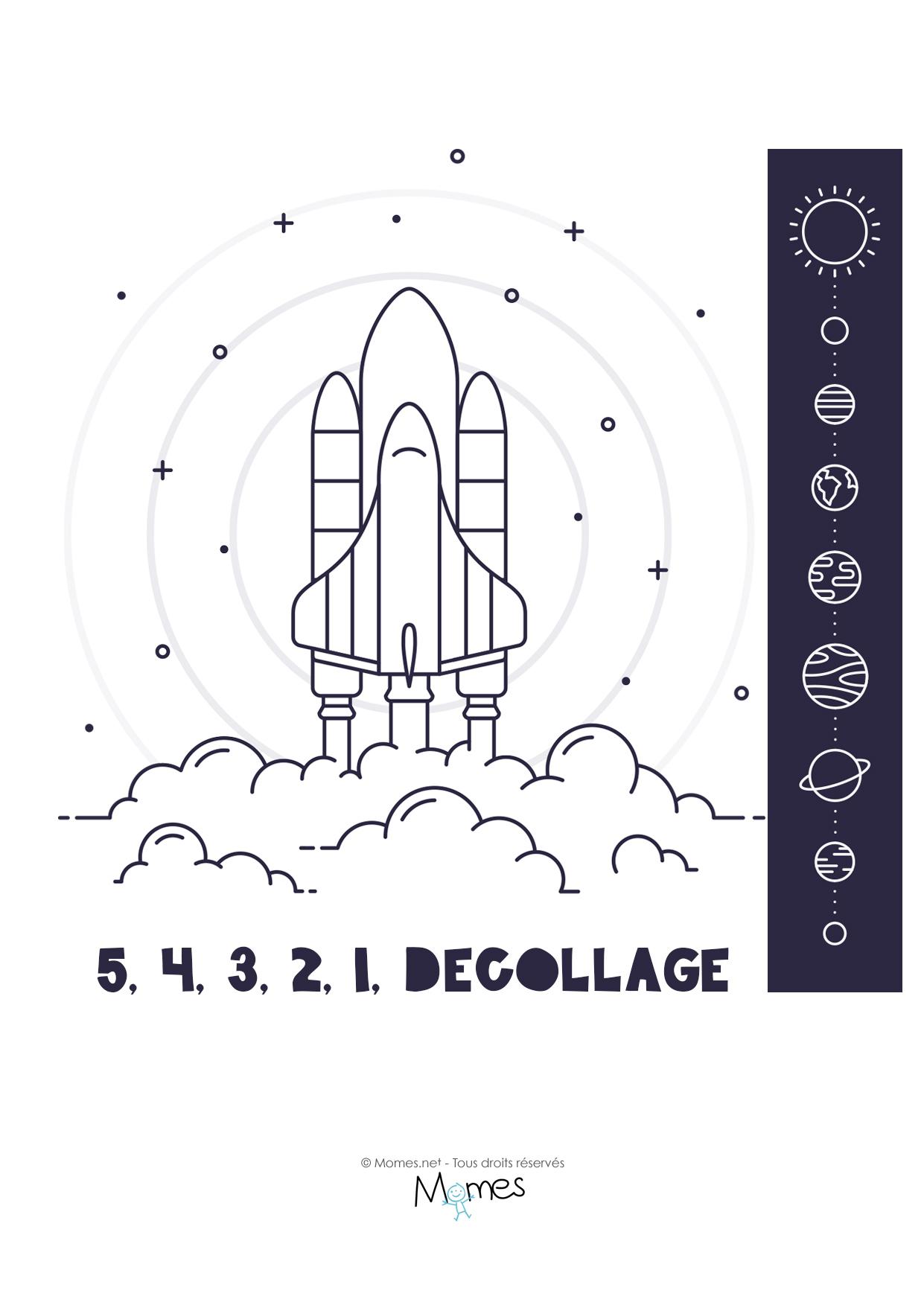 Coloriage : Décollage Fusée Et Système Solaire - Momes serapportantà Fusée À Imprimer
