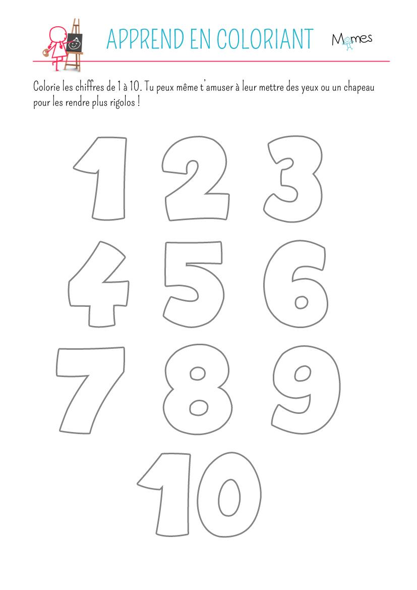 Coloriage Des Chiffres - Momes serapportantà Coloriage Chiffres 1 À 10