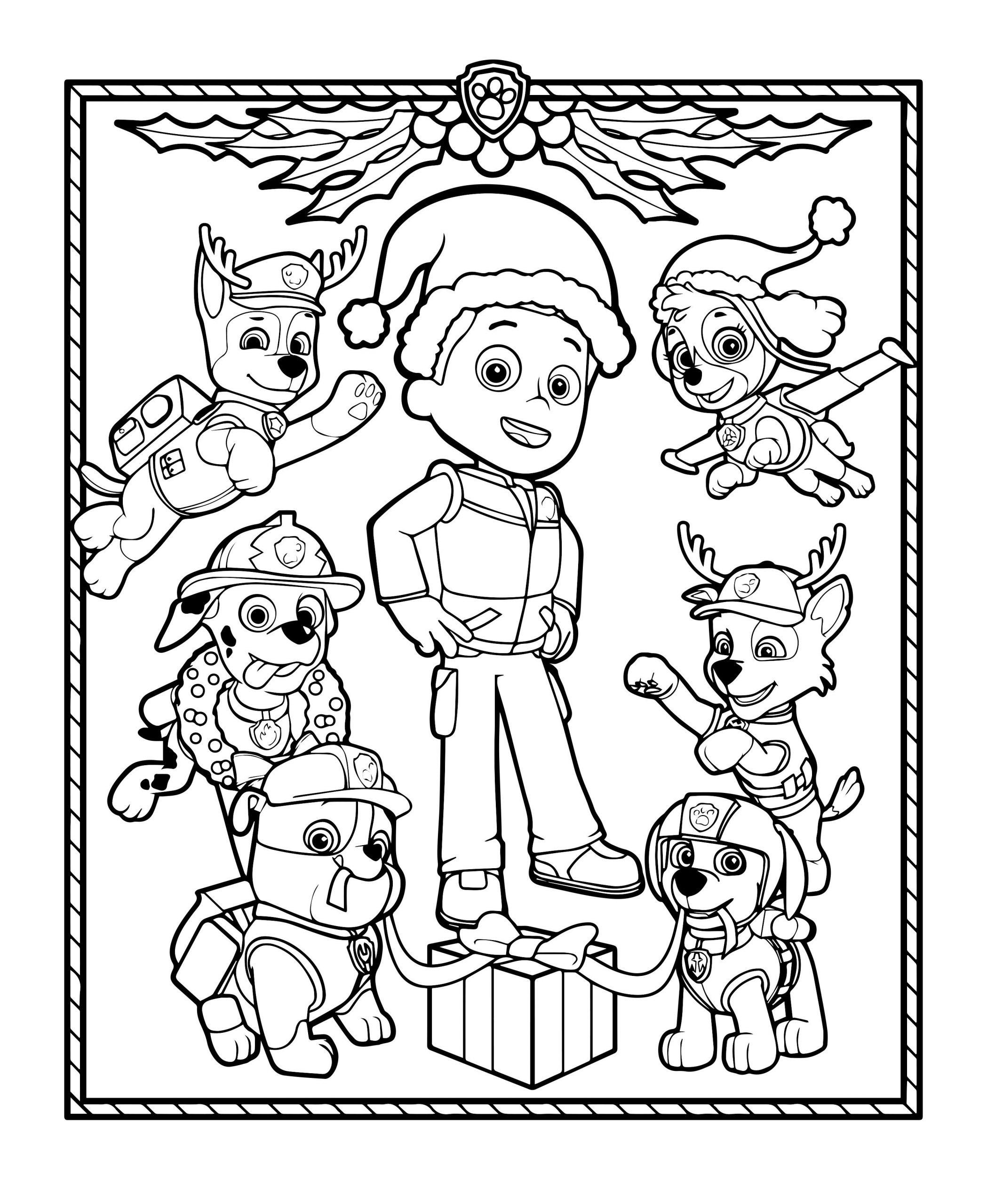 Coloriage Des Chiots De La Pat'patrouille Décorent Pour Noël avec Coloriage De Chiot A Imprimer