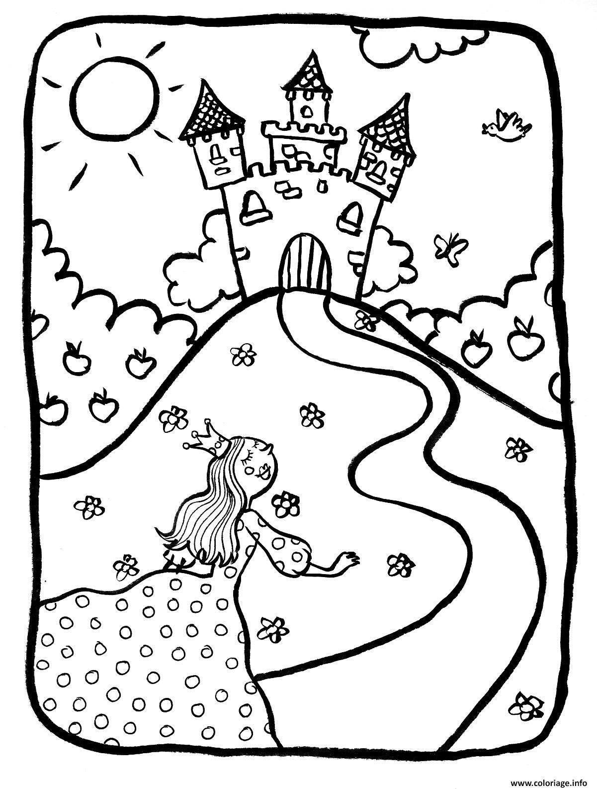 Coloriage Dessin Chateaux Avec Princesse Dessin avec Dessin Chateau Princesse