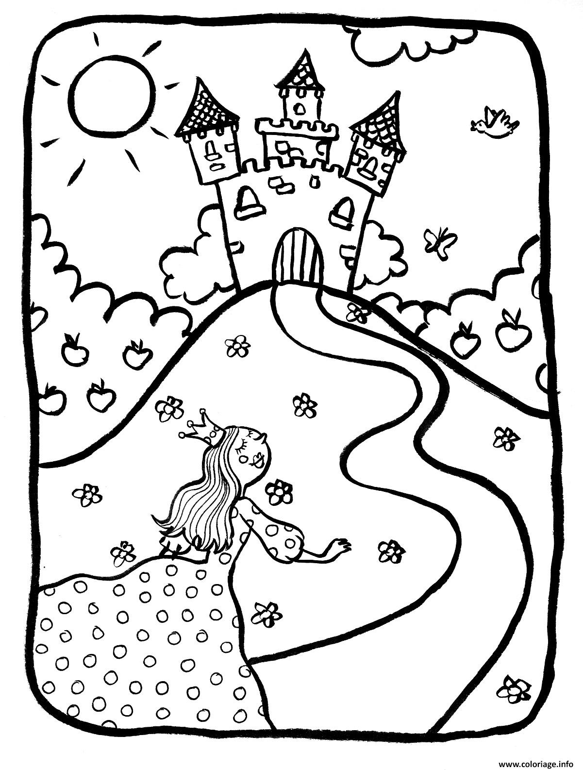 Coloriage Dessin Chateaux Avec Princesse Dessin concernant Chateau De Princesse Dessin