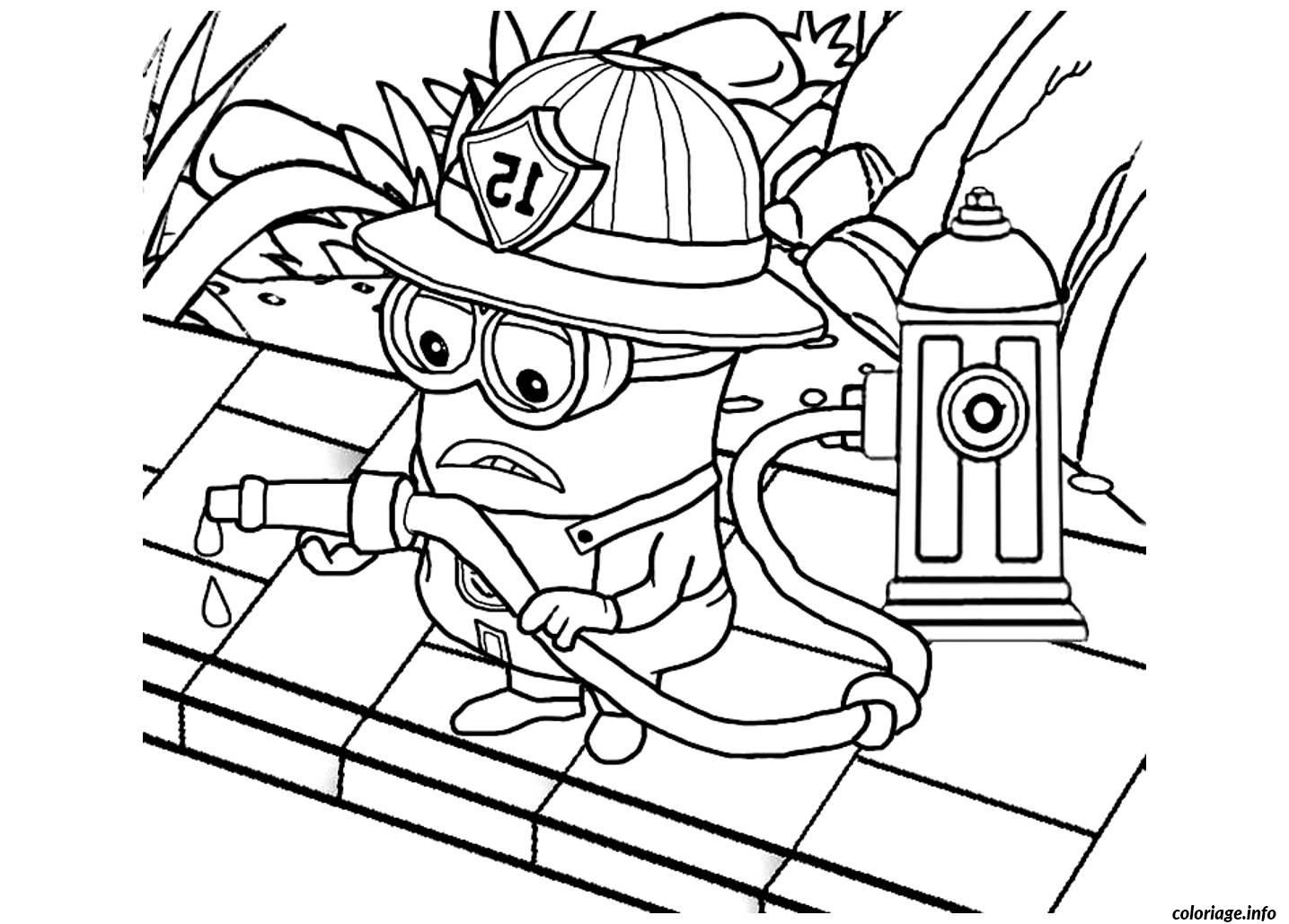 Coloriage Dessin Minion Le Pompier Dessin À Imprimer pour Coloriage Pompier A Imprimer Gratuit