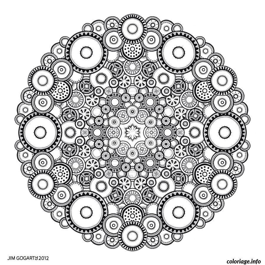 Coloriage Difficile Adulte Mandala Rond Dessin pour Coloriage Magique Dur