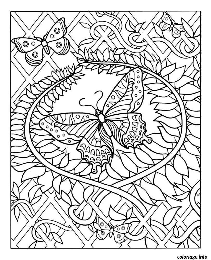Coloriage Difficile Adulte Papillon Dessin intérieur Coloriage Magique Dur