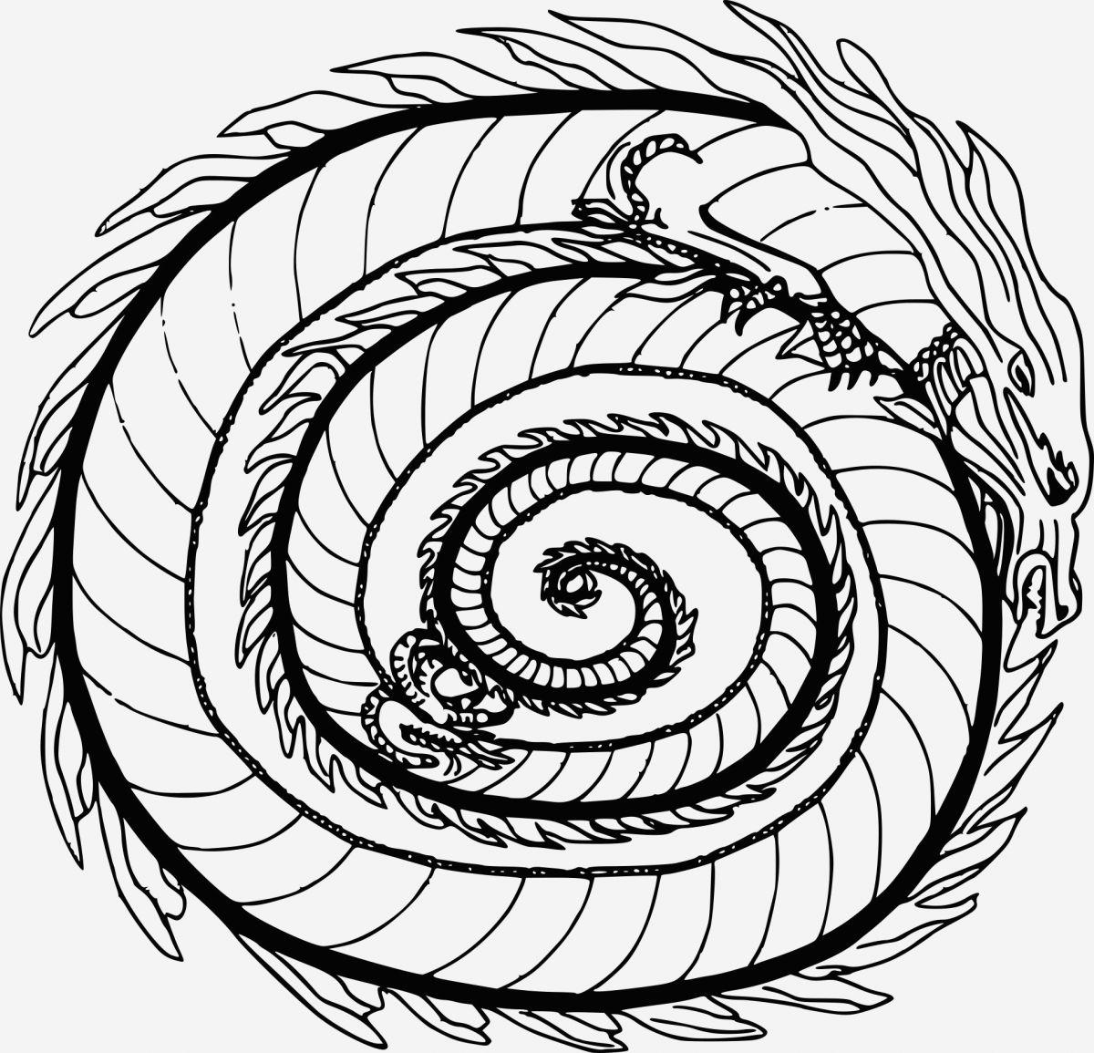 Coloriage Difficile Dragon - Coloriages Gratuits encequiconcerne Coloriage De Mandala Difficile A Imprimer