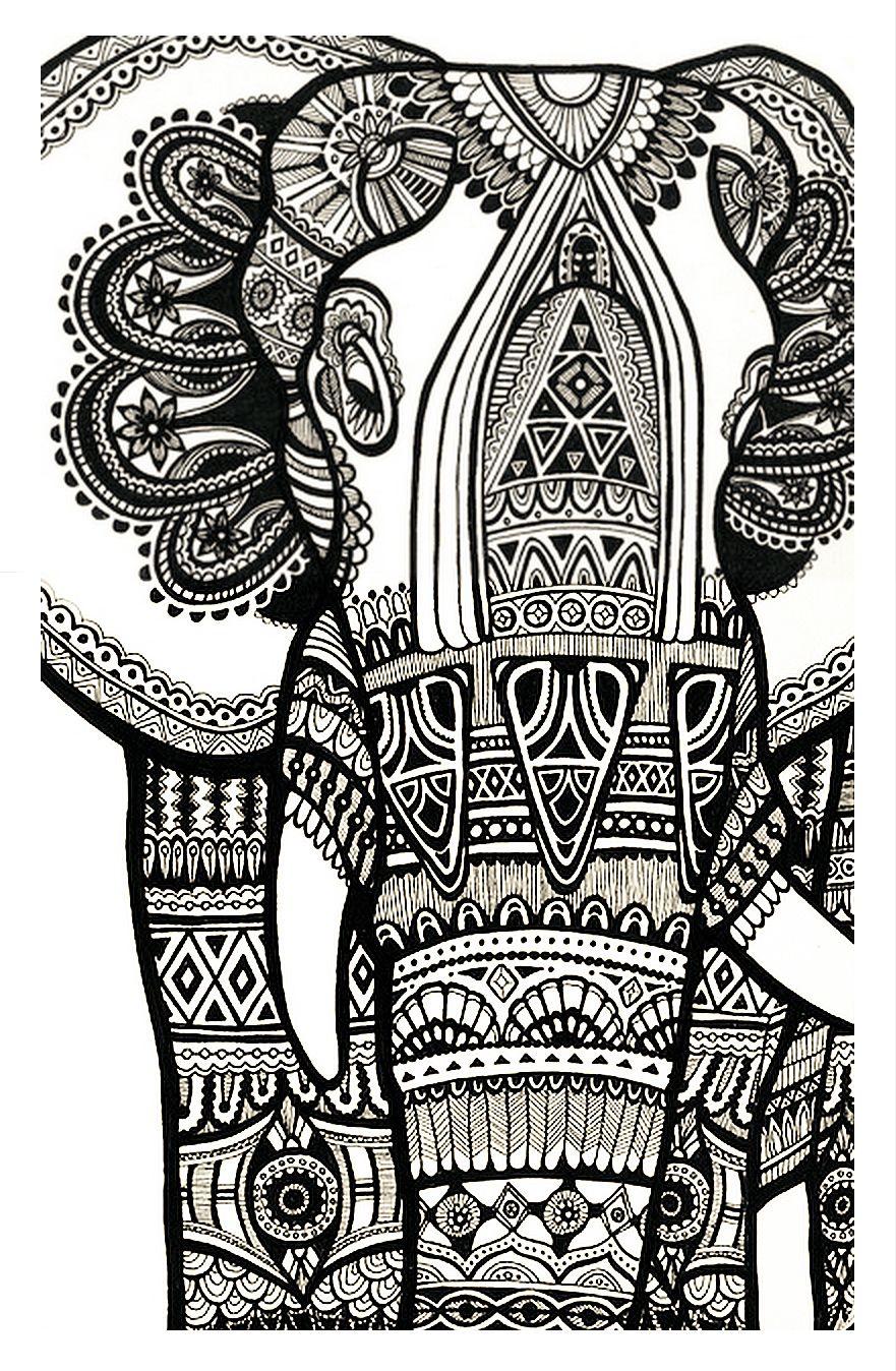 Coloriage Difficile Éléphant Gratuit A Imprimer Pour Adulte destiné Dessin A Imprimer Pour Adulte