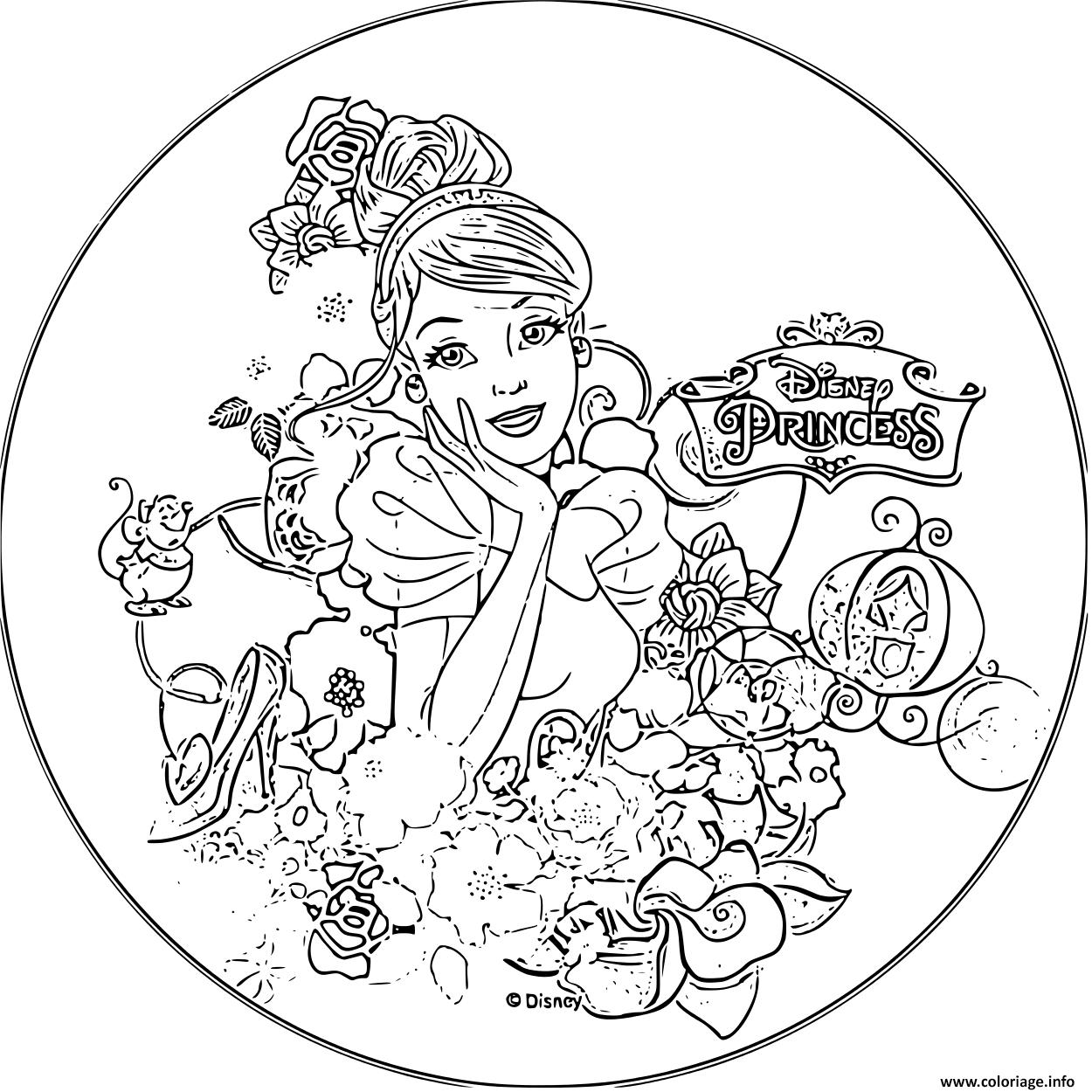 Coloriage Disney Princesse Cendrillon 1950 Dessin tout Cendrillon À Colorier