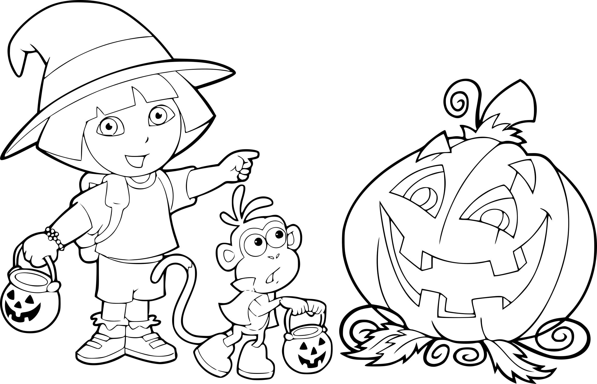 Coloriage Dora Halloween – Maduya encequiconcerne Livre De Coloriage À Imprimer