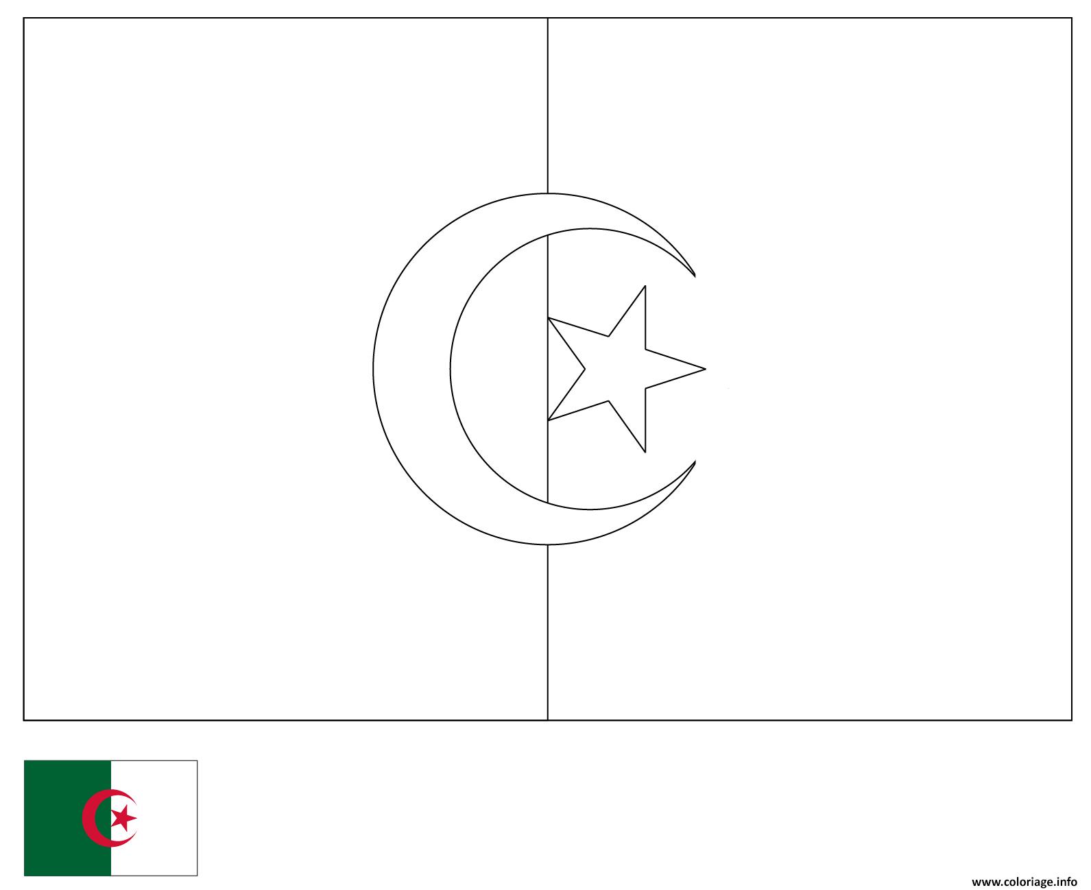 Coloriage Drapeau Algerie 2 Dessin serapportantà Drapeaux Européens À Imprimer
