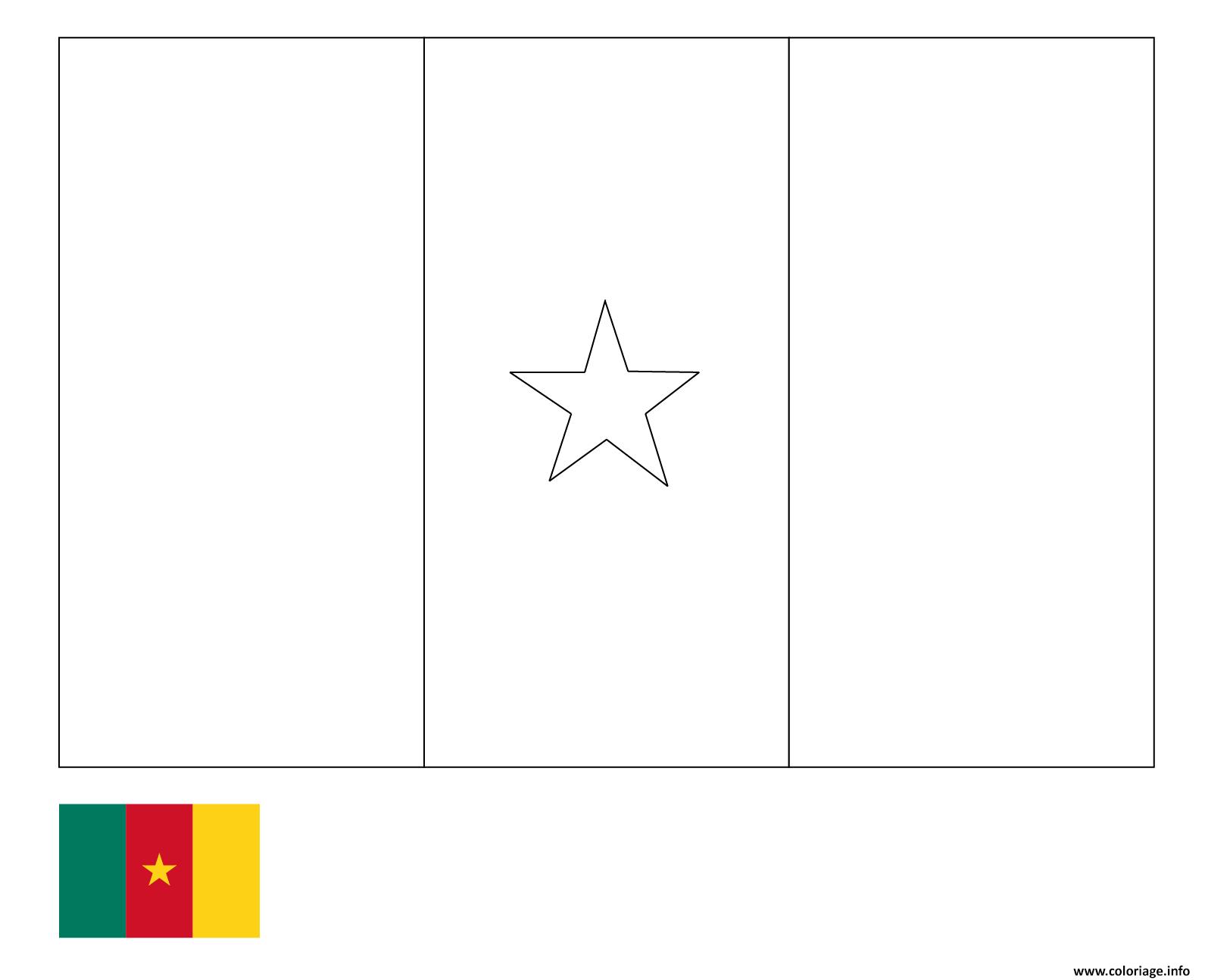 Coloriage Drapeau Cameroun Pays Afrique Centrale Dessin destiné Dessin Africain A Colorier