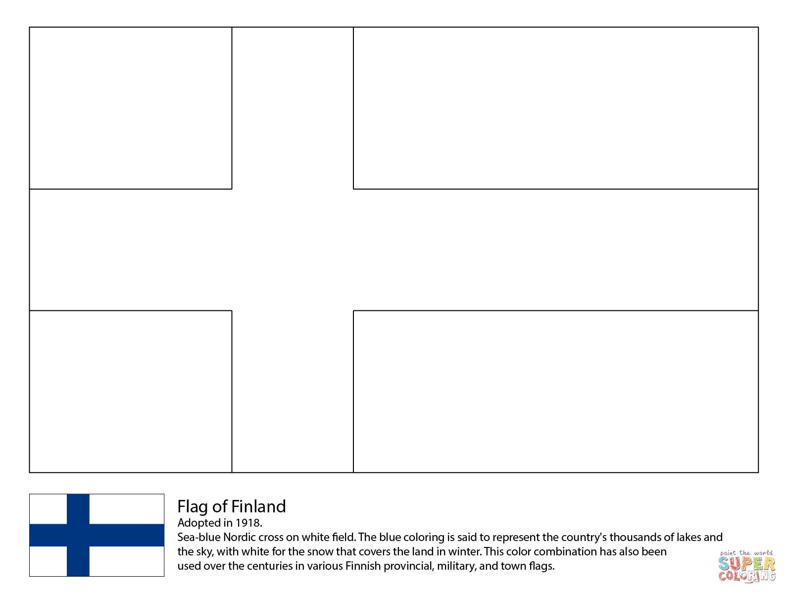 Coloriage - Drapeau De La Finlande | Coloriages À Imprimer destiné Drapeaux Européens À Imprimer