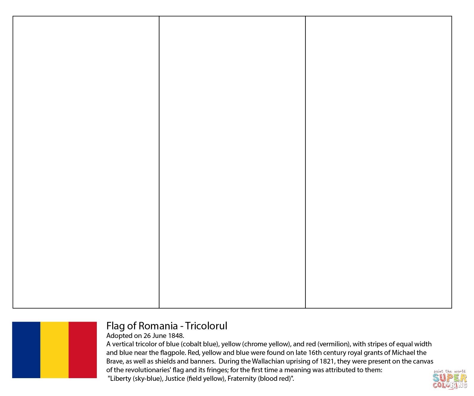 Coloriage - Drapeau De La Roumanie | Coloriages À Imprimer tout Drapeaux Européens À Imprimer