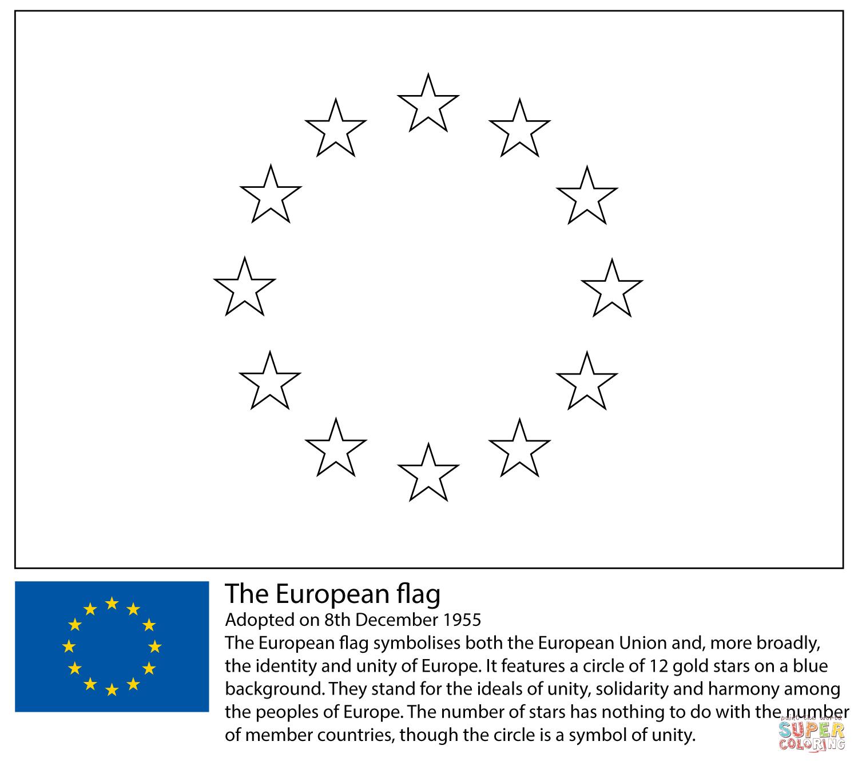 Coloriage - Drapeau Européen | Coloriages À Imprimer Gratuits serapportantà Drapeaux Européens À Imprimer