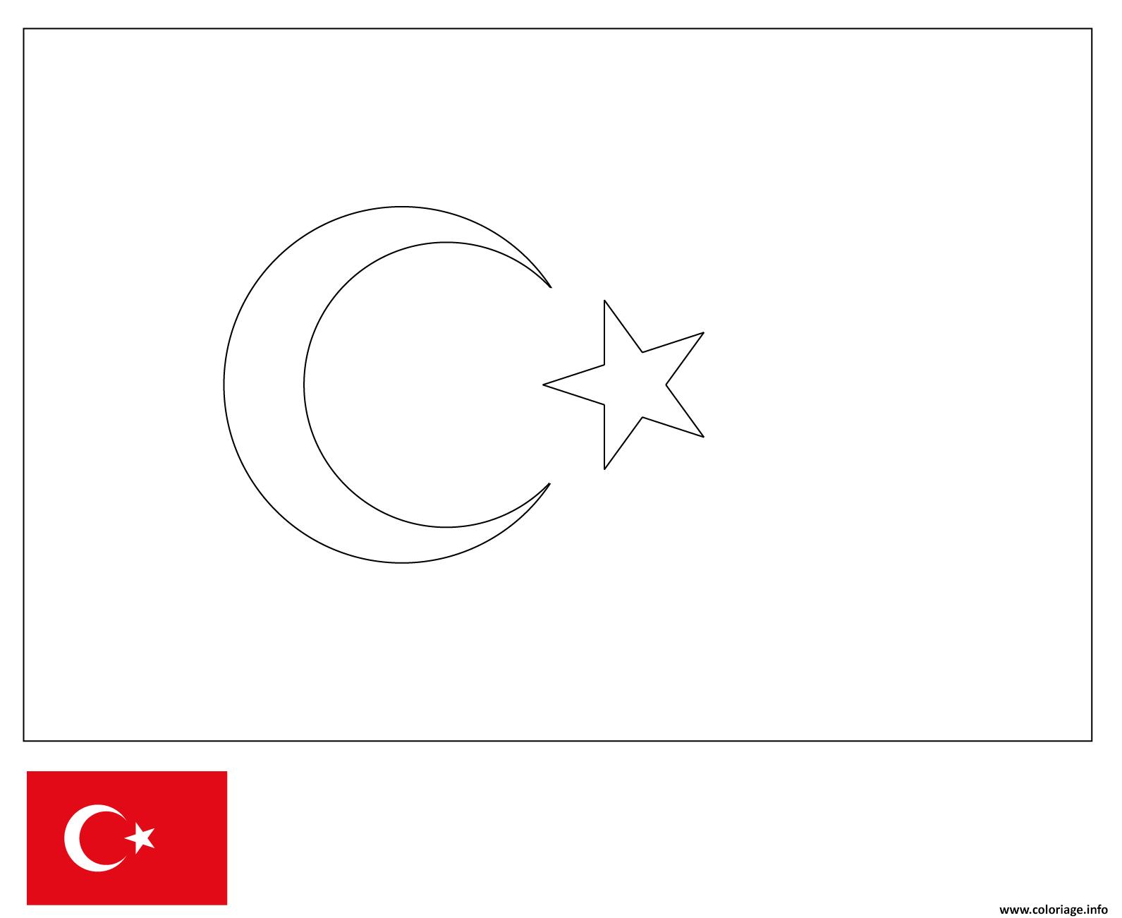 Coloriage Drapeau Turquie Dessin concernant Drapeaux Européens À Imprimer