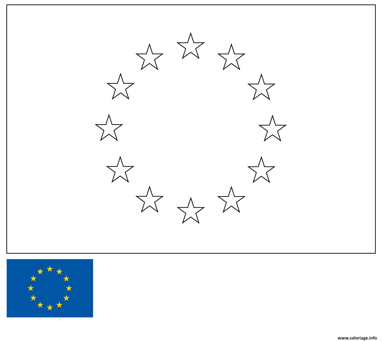 Coloriage Drapeau Union Europeenne Europe European Union tout Carte Vierge De L Union Européenne