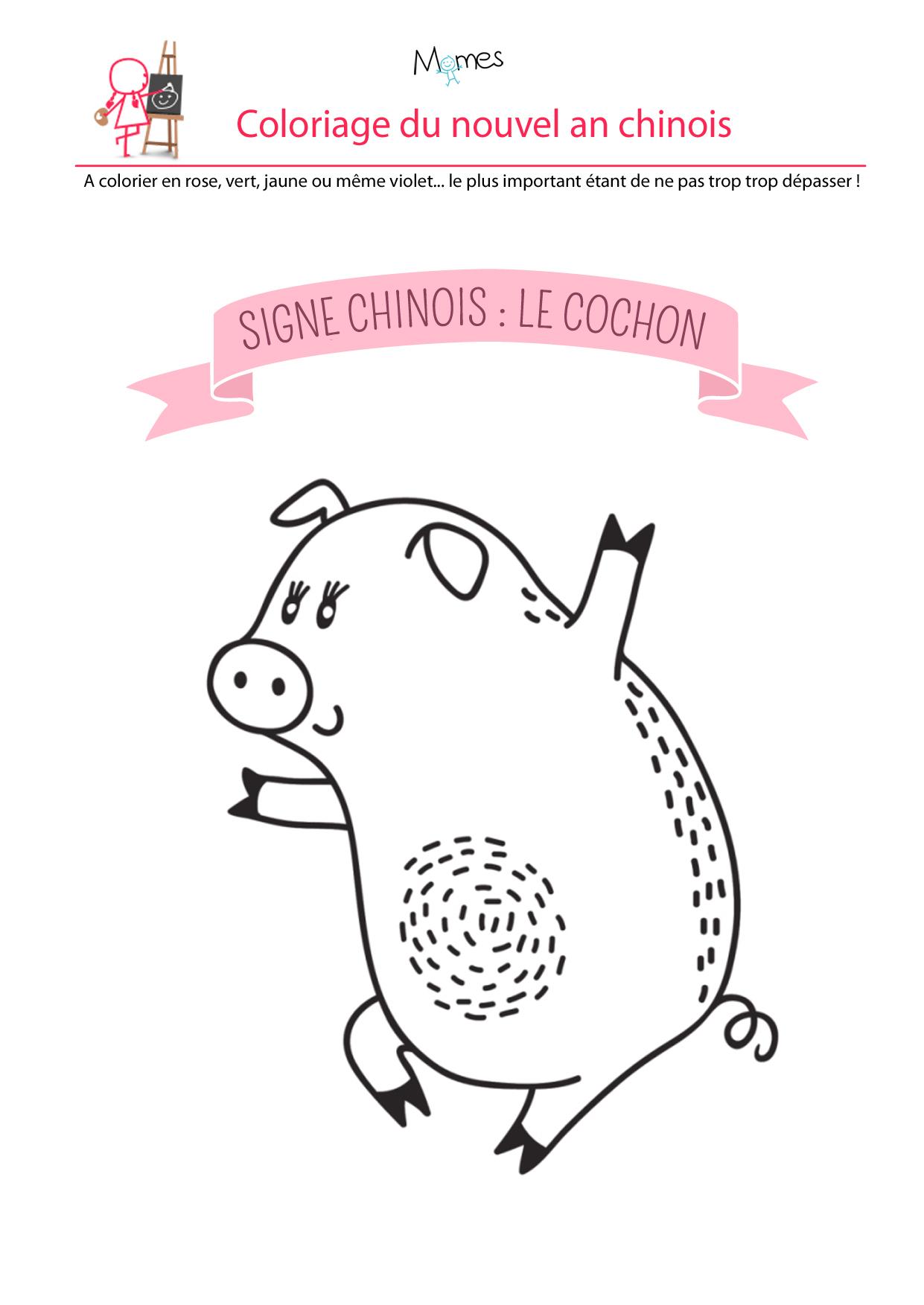Coloriage Du Calendrier Chinois : Le Cochon - Momes intérieur Dessin Cochon A Colorier