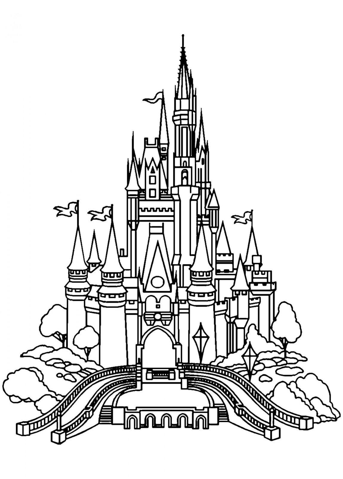 Coloriage Du Chateau De Disney | Coloriages À Imprimer Gratuits intérieur Chateau De Princesse Dessin