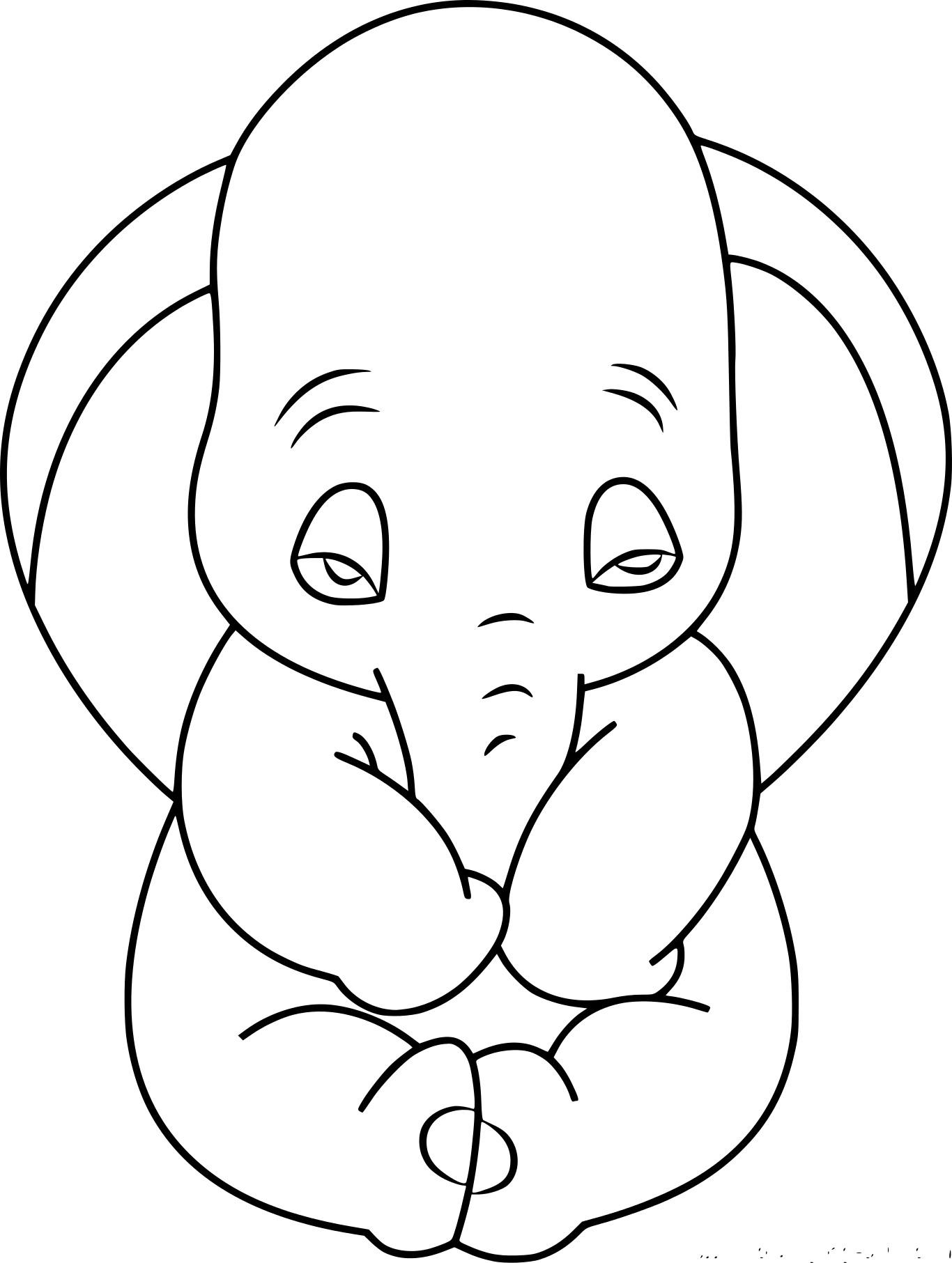 Coloriage Dumbo Triste À Imprimer Sur Coloriages à Dessin Dumbo