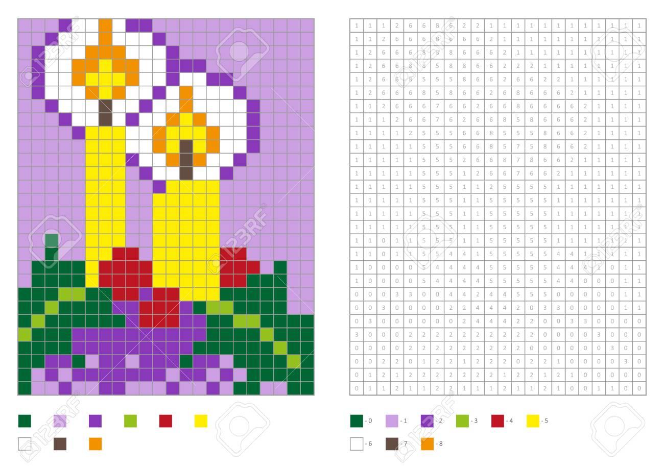 Coloriage Enfants, Pixel À Colorier Avec Des Bougies De Noël Drôles.  Illustration Vectorielle concernant Pixel A Colorier
