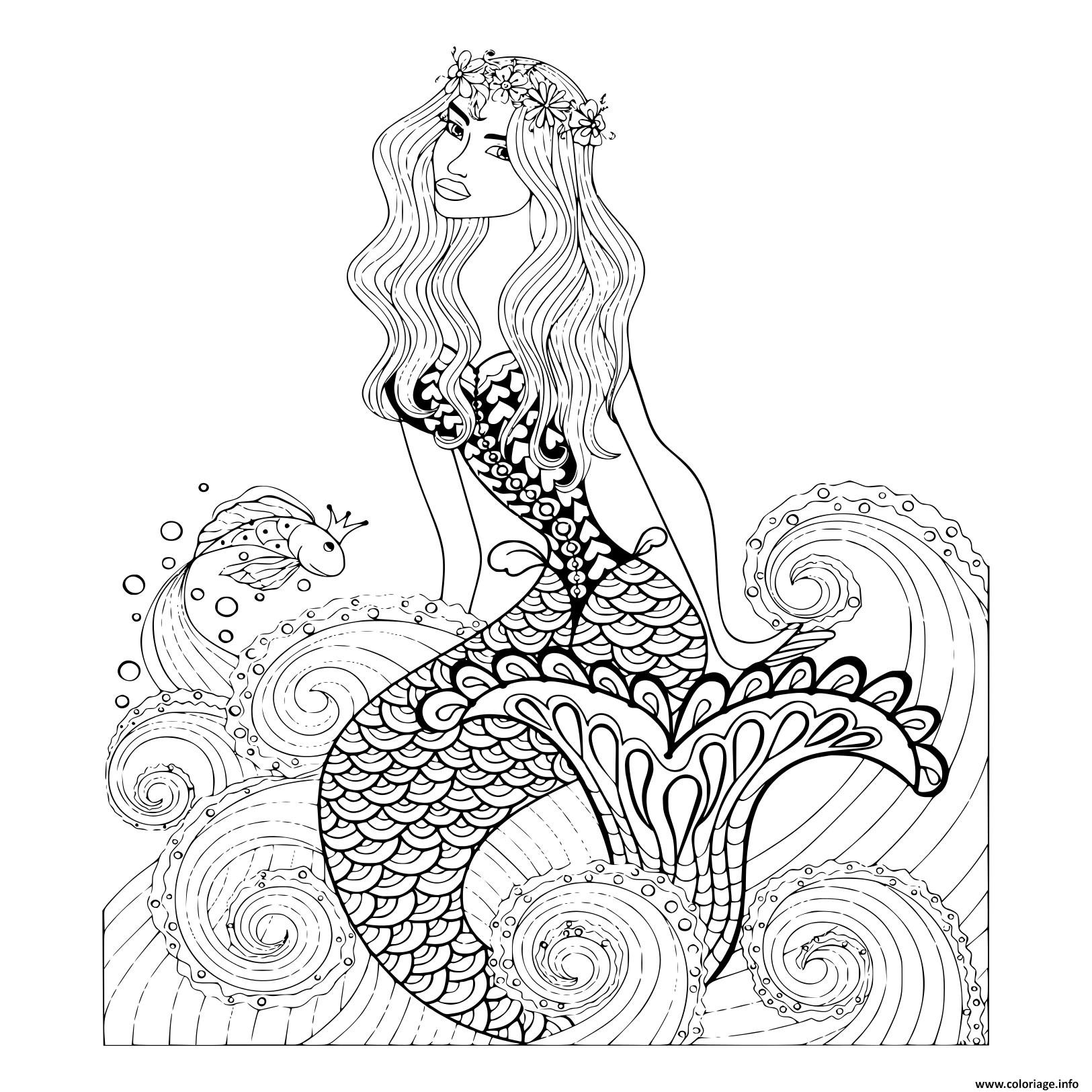 Coloriage Fantastique Sirene Vagues De Mer Avec Un Poisson concernant Dessin De Vague A Imprimer