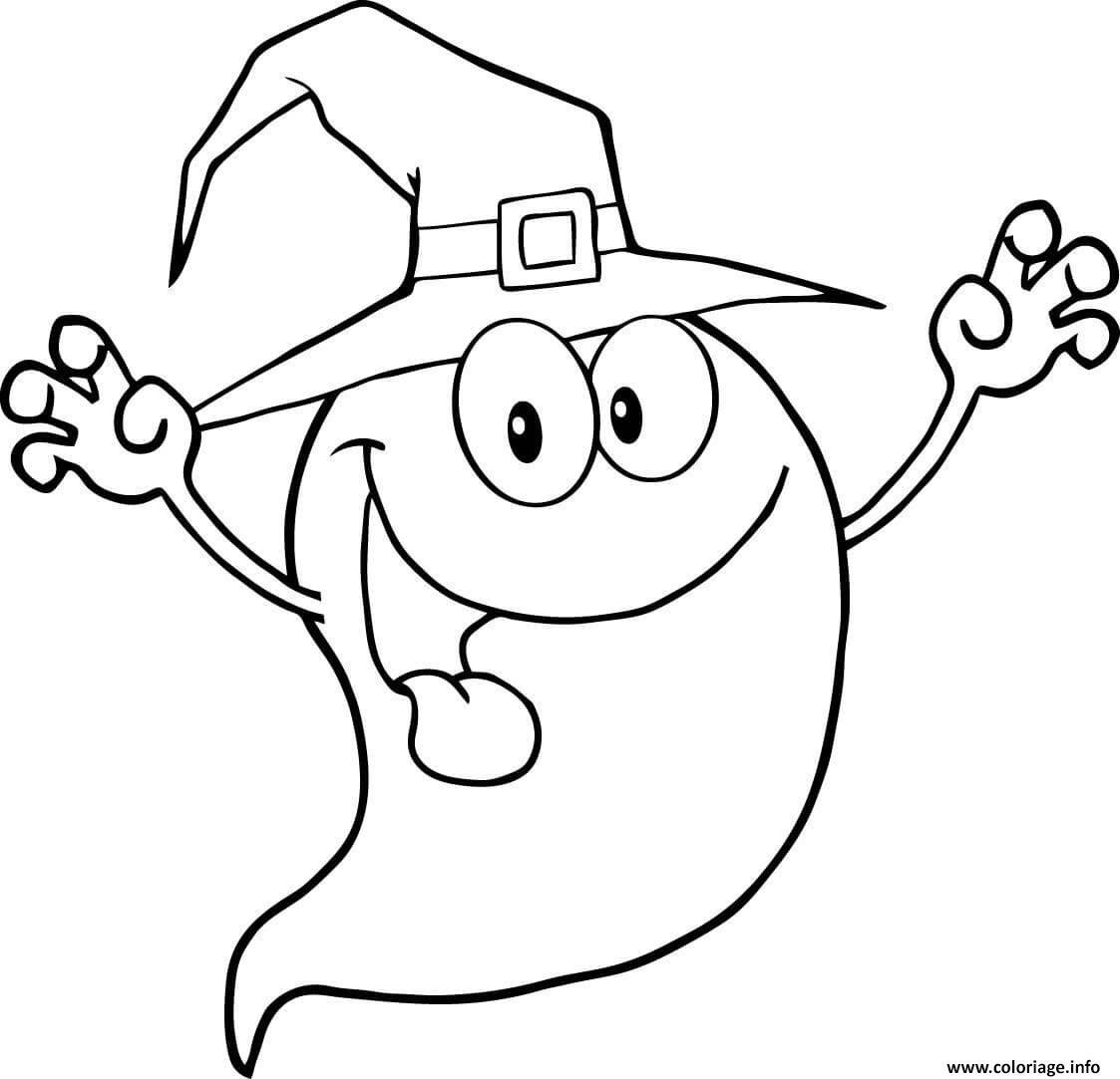 Coloriage Fantome Halloween Personnage Drole Dessin avec Personnage A Colorier