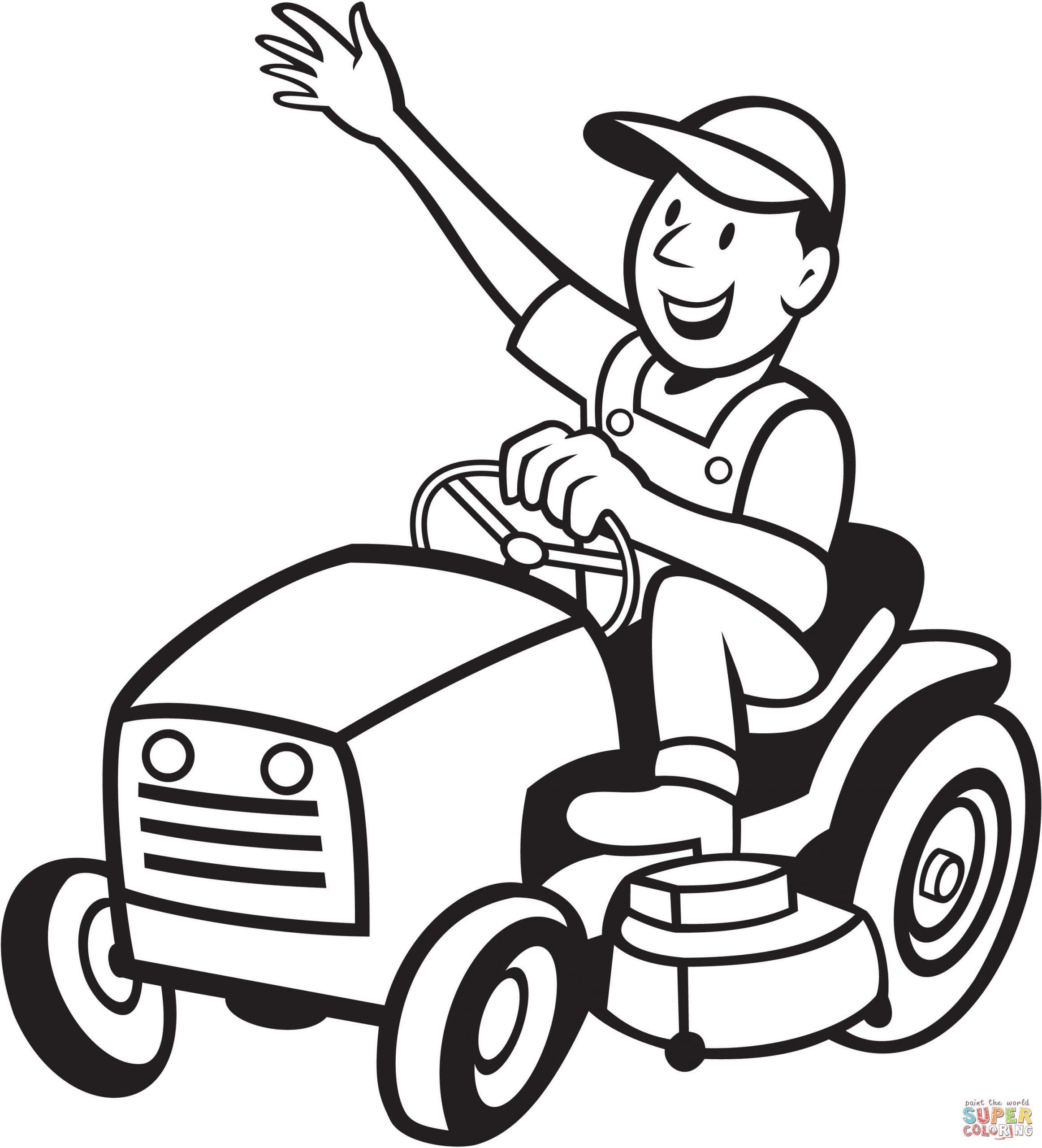 Coloriage - Fermier Conduisant Une Tondeuse À Gazon à Tracteur À Colorier