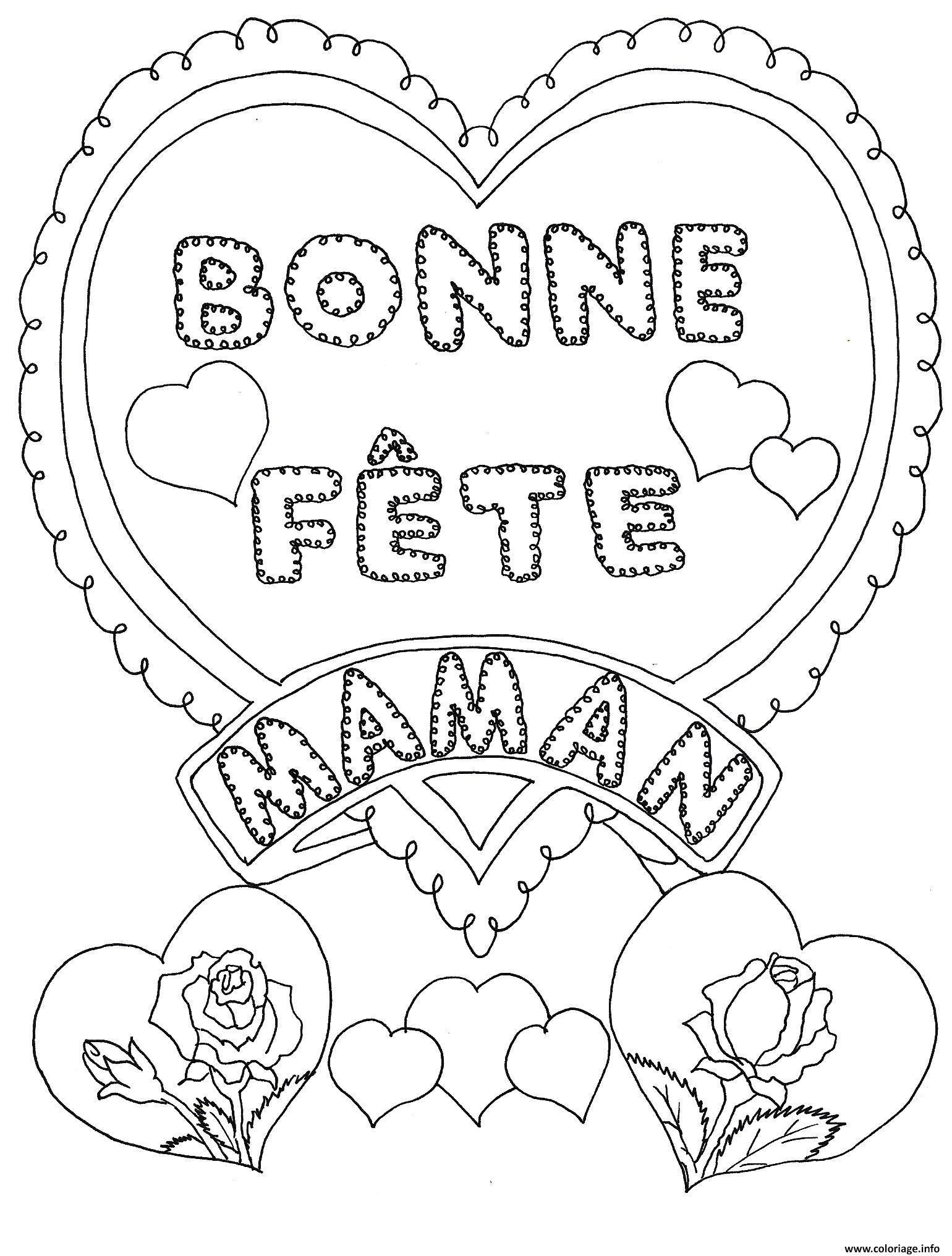 Coloriage Fete Des Meres Bonne Fete Maman Dessin À Imprimer intérieur Carte Bonne Fete Maman Imprimer