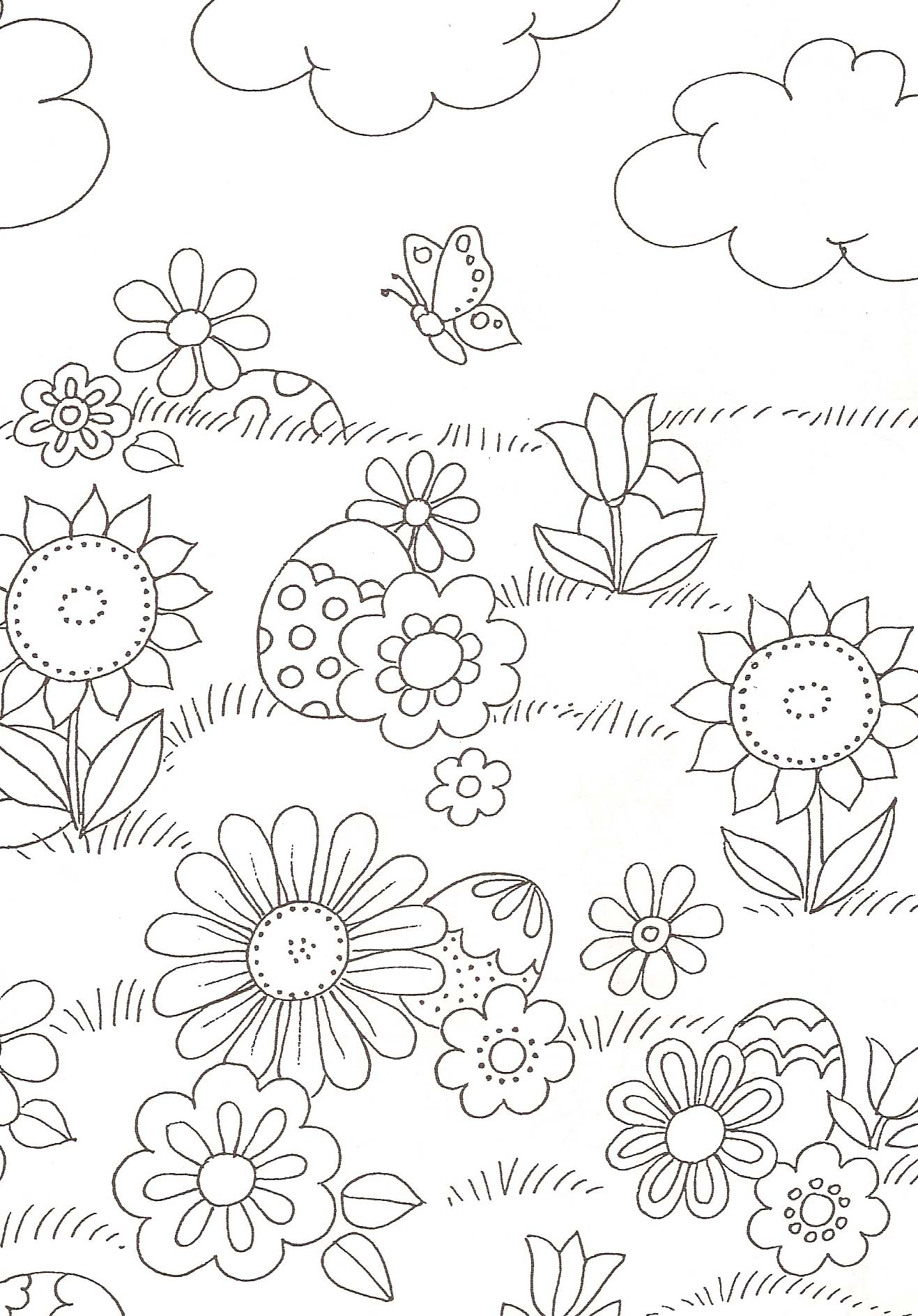 Coloriage Fleurs Et Oeufs De Pâques concernant Dessin A Colorier De Fleur