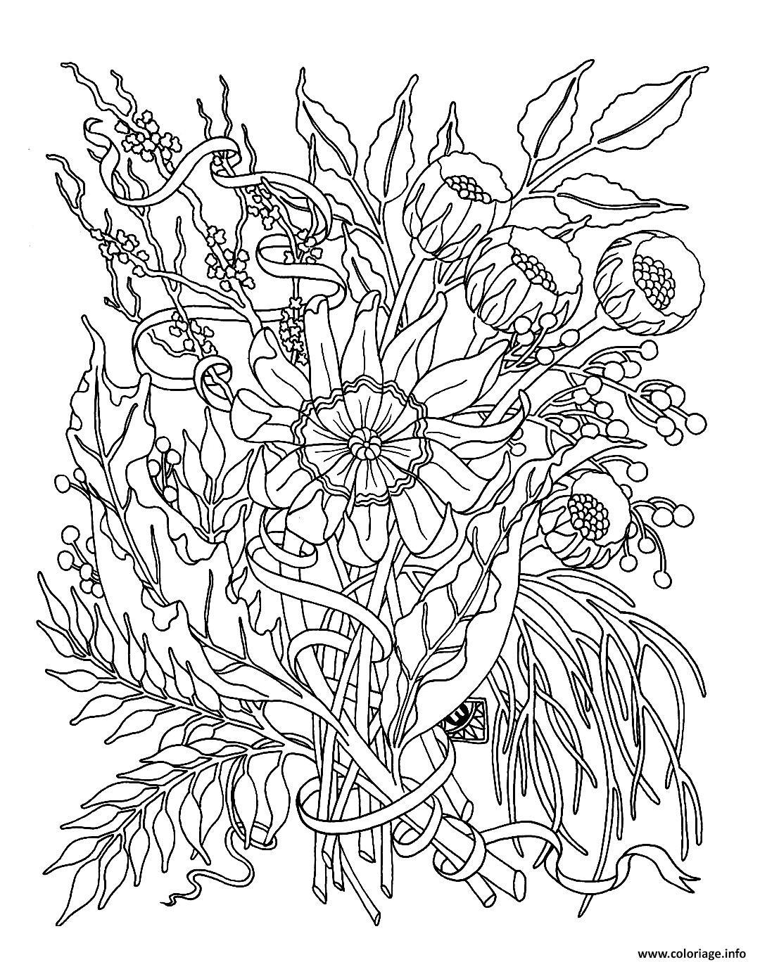Coloriage Fleurs Exotiques Realistes Dessin à Dessin A Colorier De Fleur