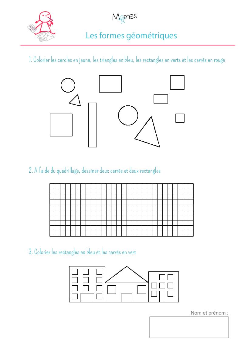 Coloriage Formes Géométriques: Exercice - Momes dedans Activité A Imprimer 2 3 Ans