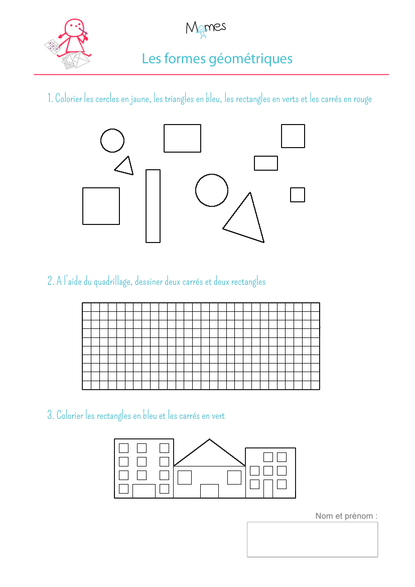 Coloriage Formes Géométriques: Exercice - Momes encequiconcerne Exercice De Maternelle A Imprimer Gratuit