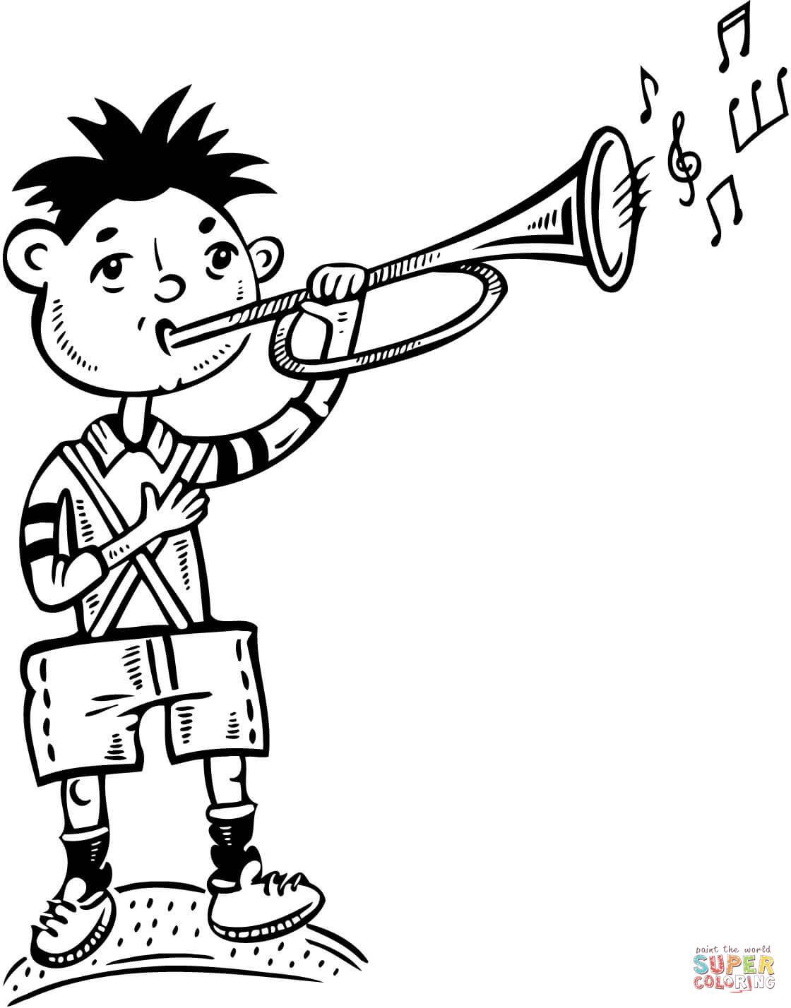 Coloriage - Garçon Jouant De La Trompette | Coloriages À à Trompette À Colorier