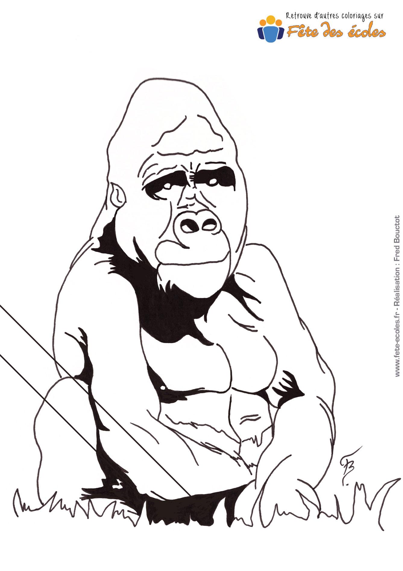 Coloriage Gorille De Cirque serapportantà Coloriage Gorille