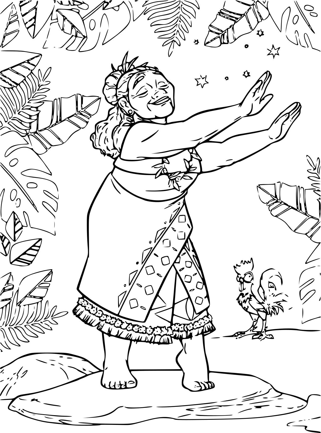 Coloriage Grand-Mère Vaiana À Imprimer Gratuit destiné Coloriage Sur La Mer À Imprimer