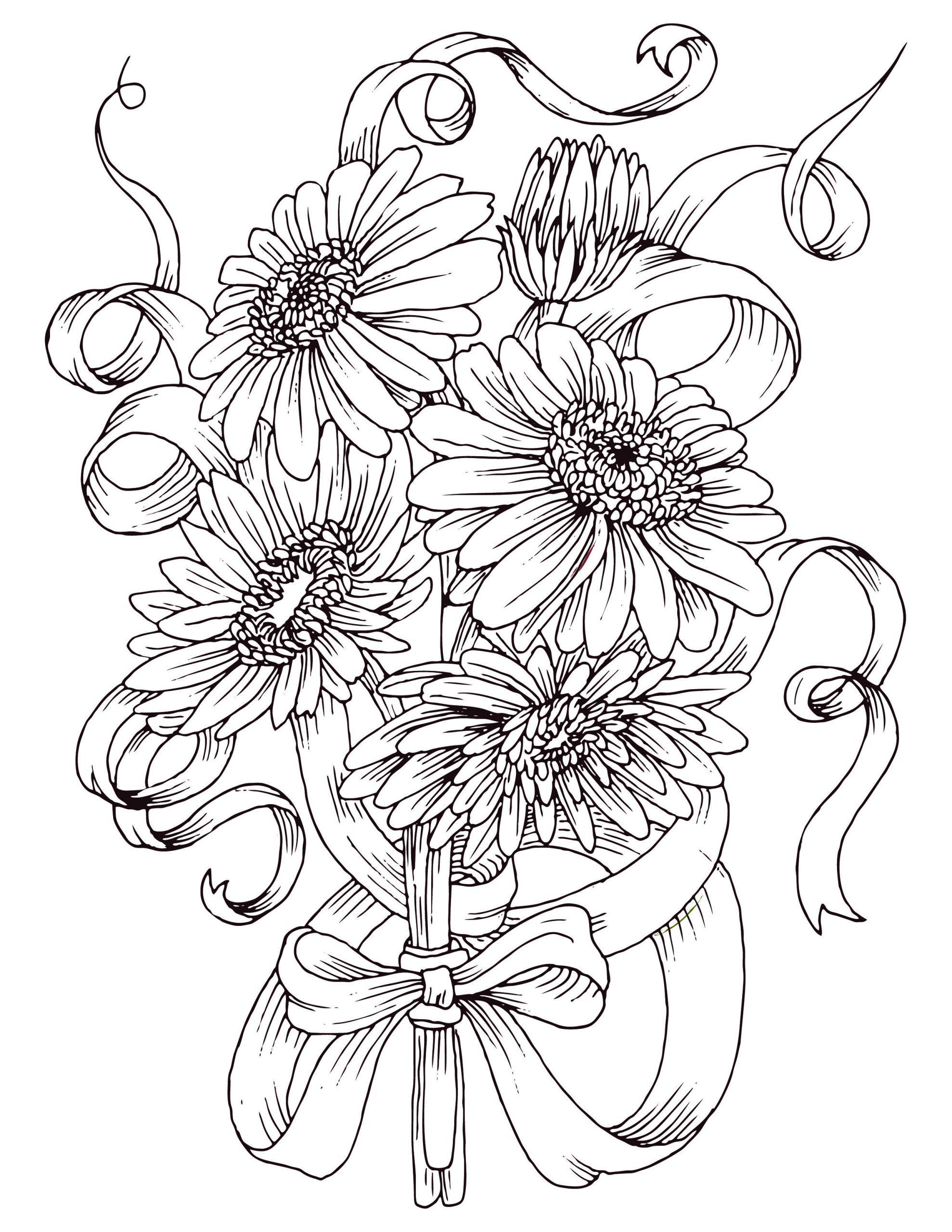 Coloriage Gratuit, Bouquet De Fleurs Marguerite | Coloriage avec Dessin A Colorier De Fleur